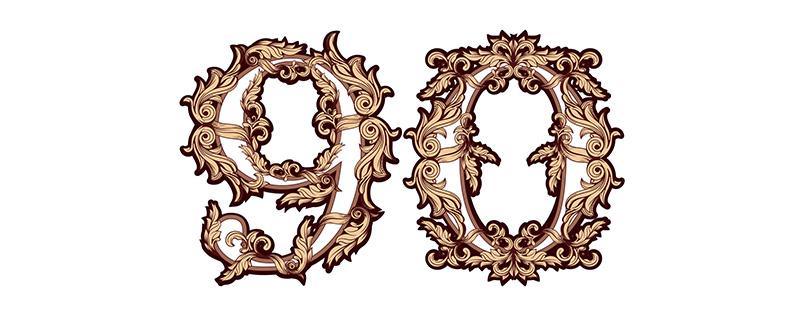Zahlen-Vorlage (90) für Geburtstag & Jubiläum mit ziervollen Ornamenten