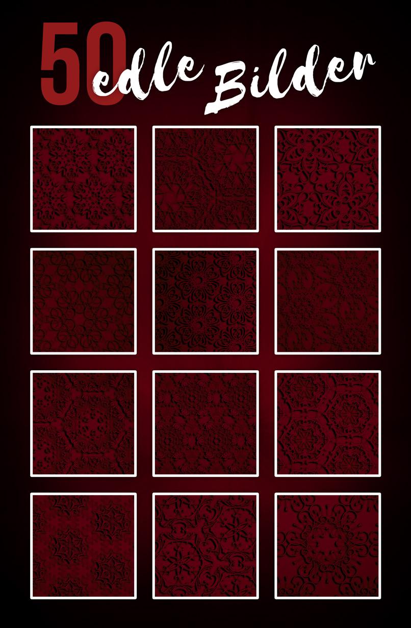 Beispiele für digitales Papier: roter Hintergrund mit Ornamenten