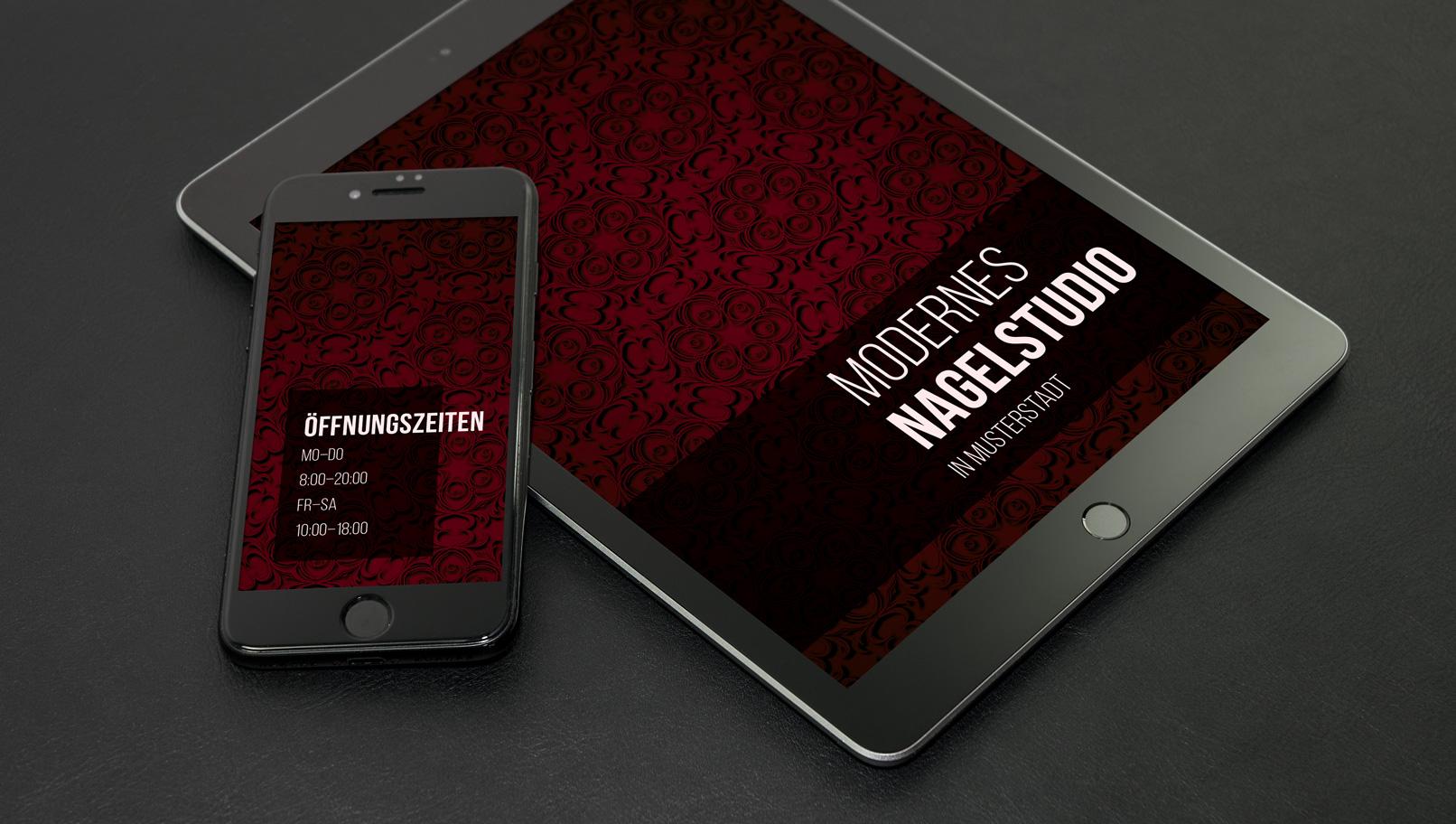 Tablet und Smartphone zeigen digitales Papier mit rotem Hintergrund
