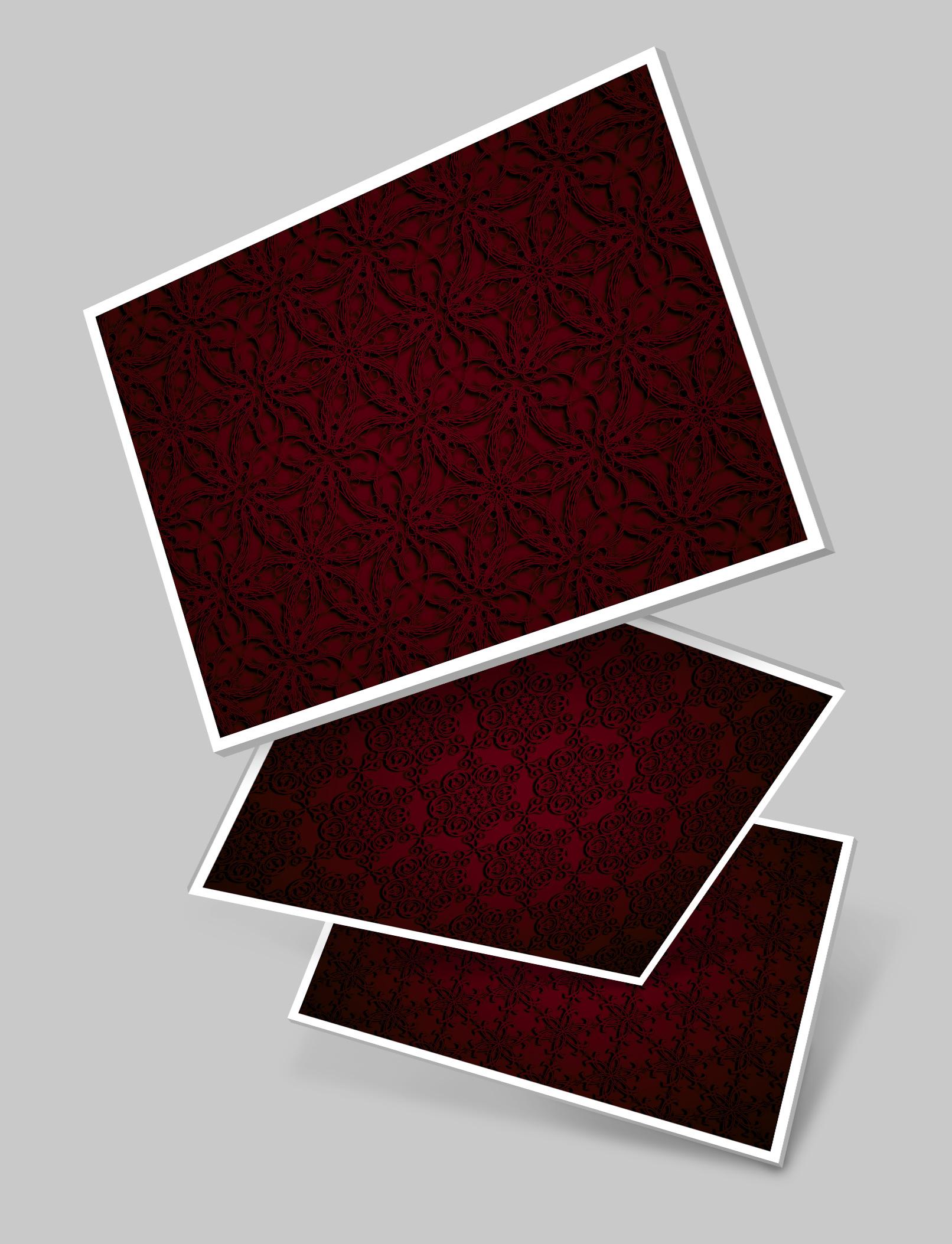 Roter Hintergrund: drei Beispiele der im Paket enthaltenen Bilder
