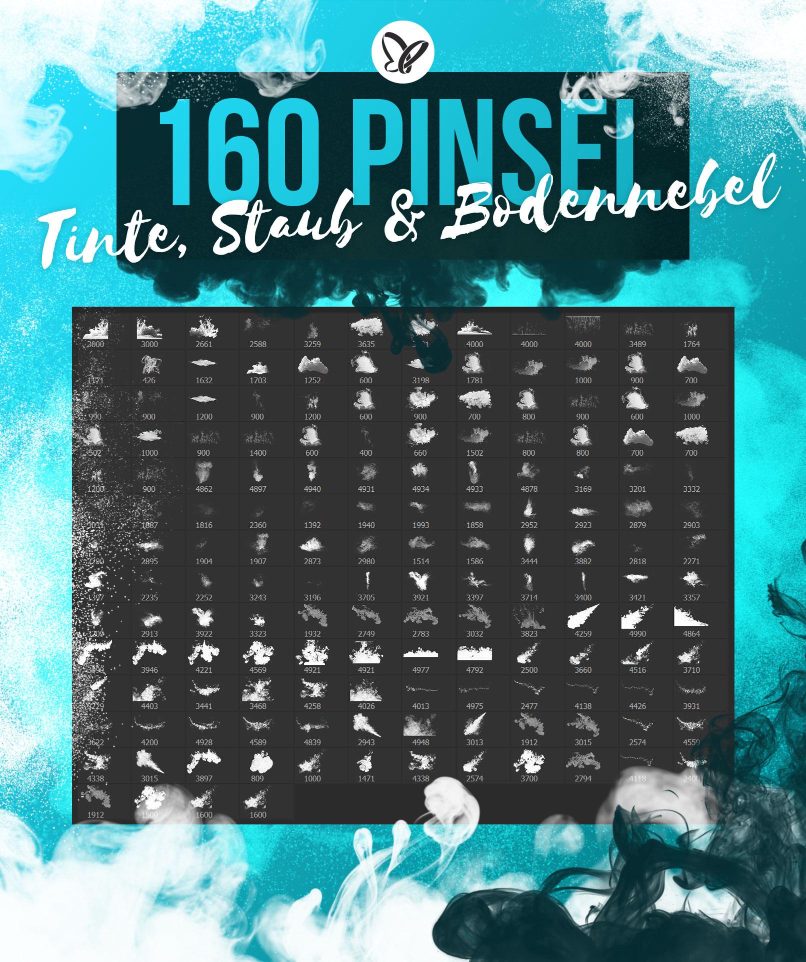 Vorschau der 160 Pinsel für Photoshop, GIMP und Co