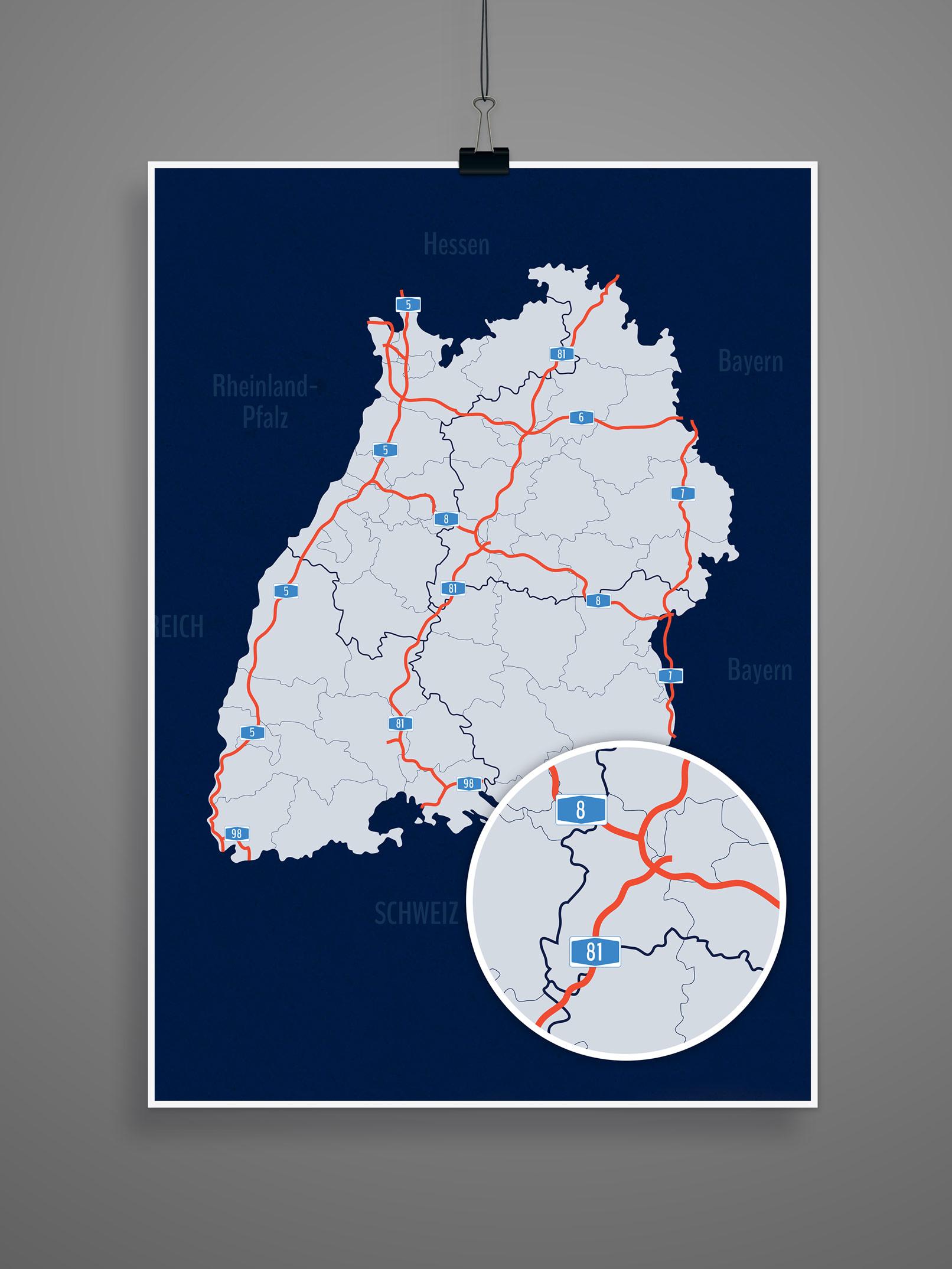 Landkarte von Baden-Württemberg mit allen Stadt- und Landkreisen, inklusive Autobahnen