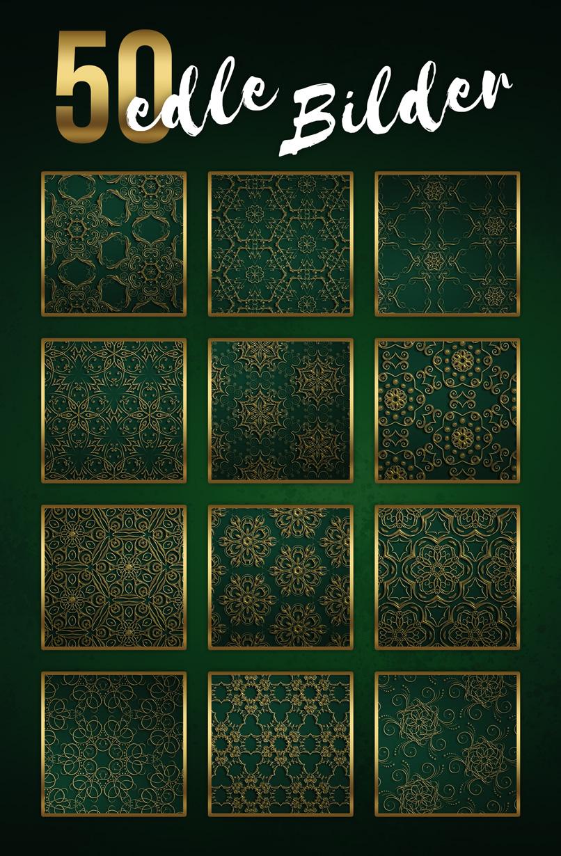 Beispiele für grüne Hintergründe mit goldenen Ornamenten