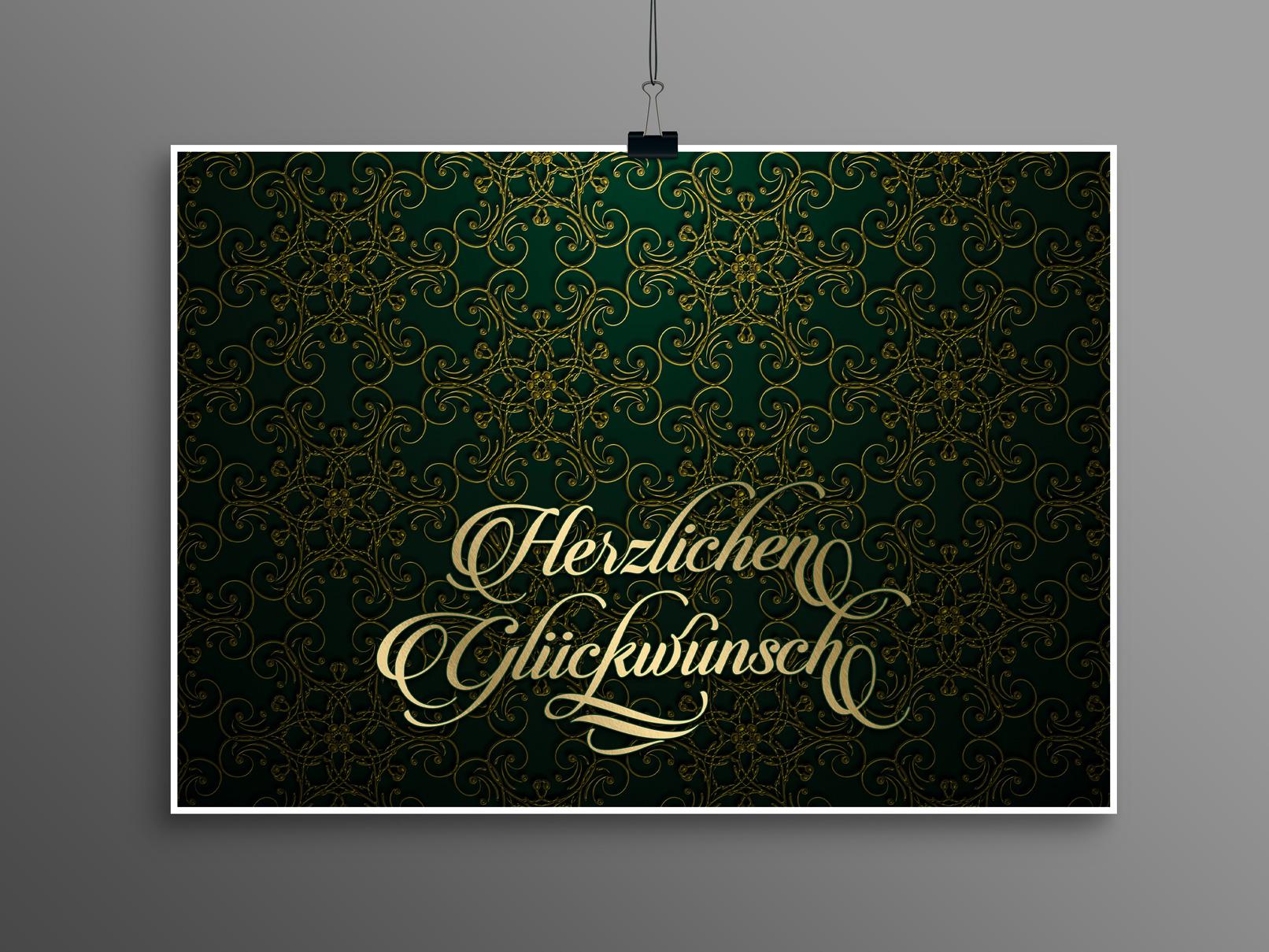 Hintergrund in Grün, Ornamente in Gold, versehen mit einem Text