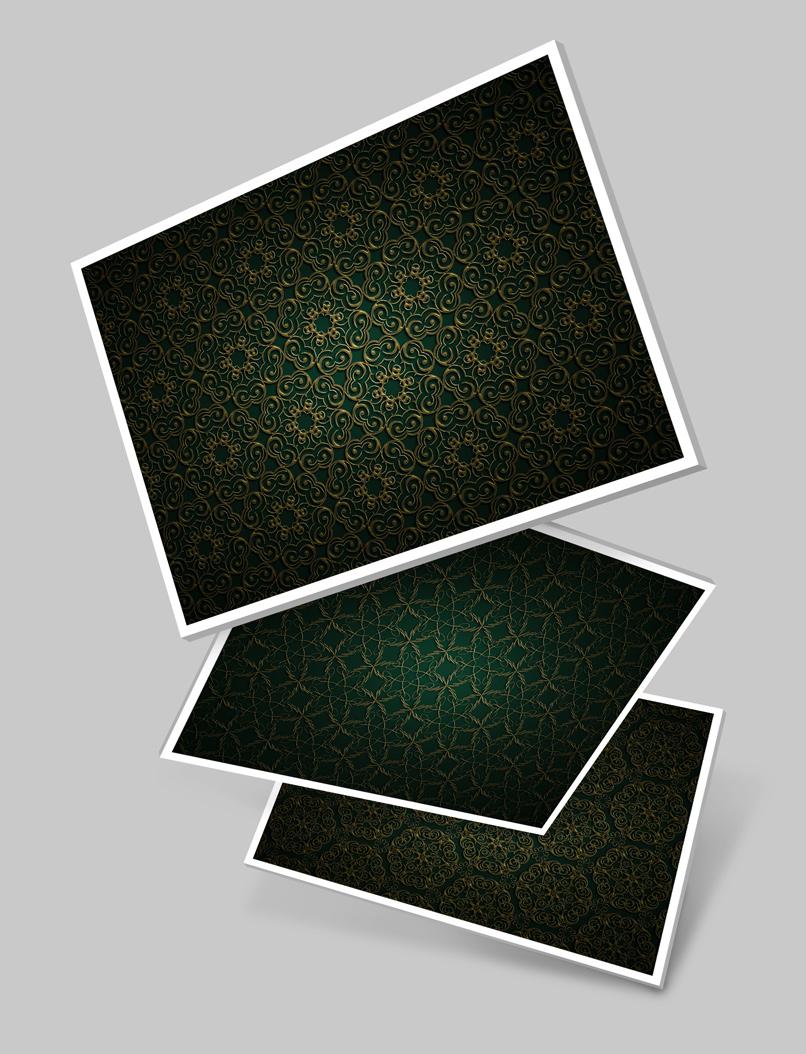 Gold-grüner Hintergrund: Drei Beispiele aus dem Paket