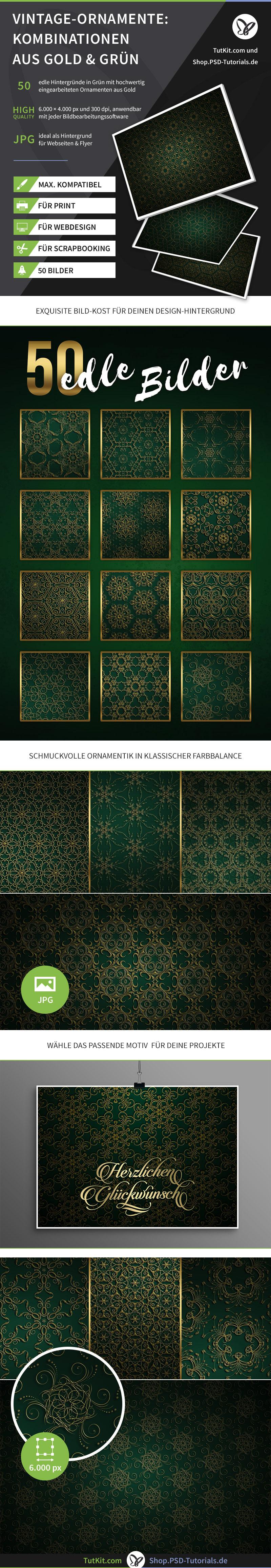 Überblick über die goldenen Ornamente auf grünem Hintergrund
