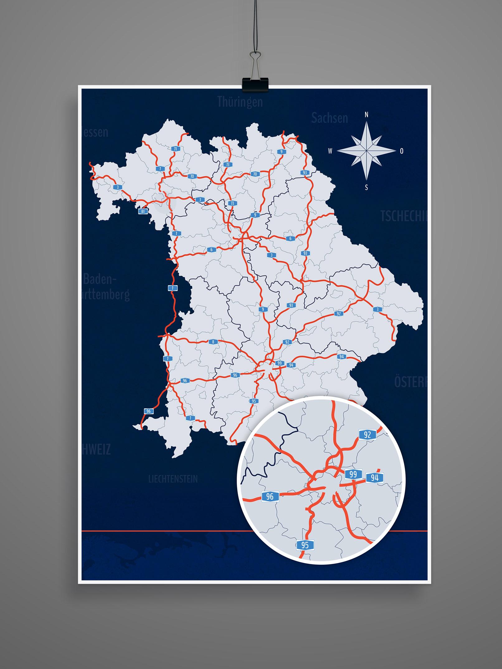Landkarte von Bayern mit allen Landkreisen, kreisfreien Städten, inklusive Autobahnen