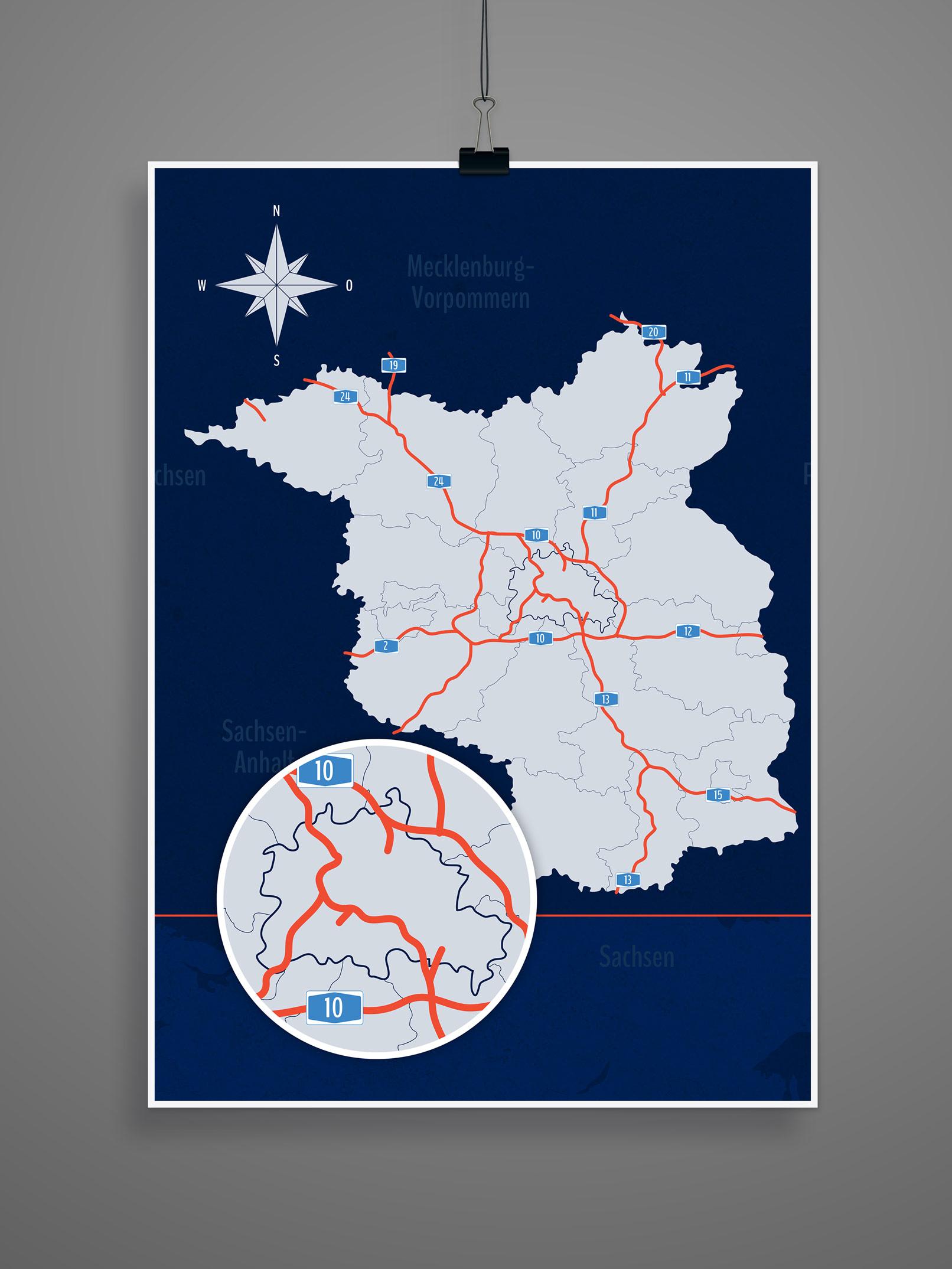Landkarte von Brandenburg mit allen Landkreisen sowie Berlin, inklusive Autobahnen