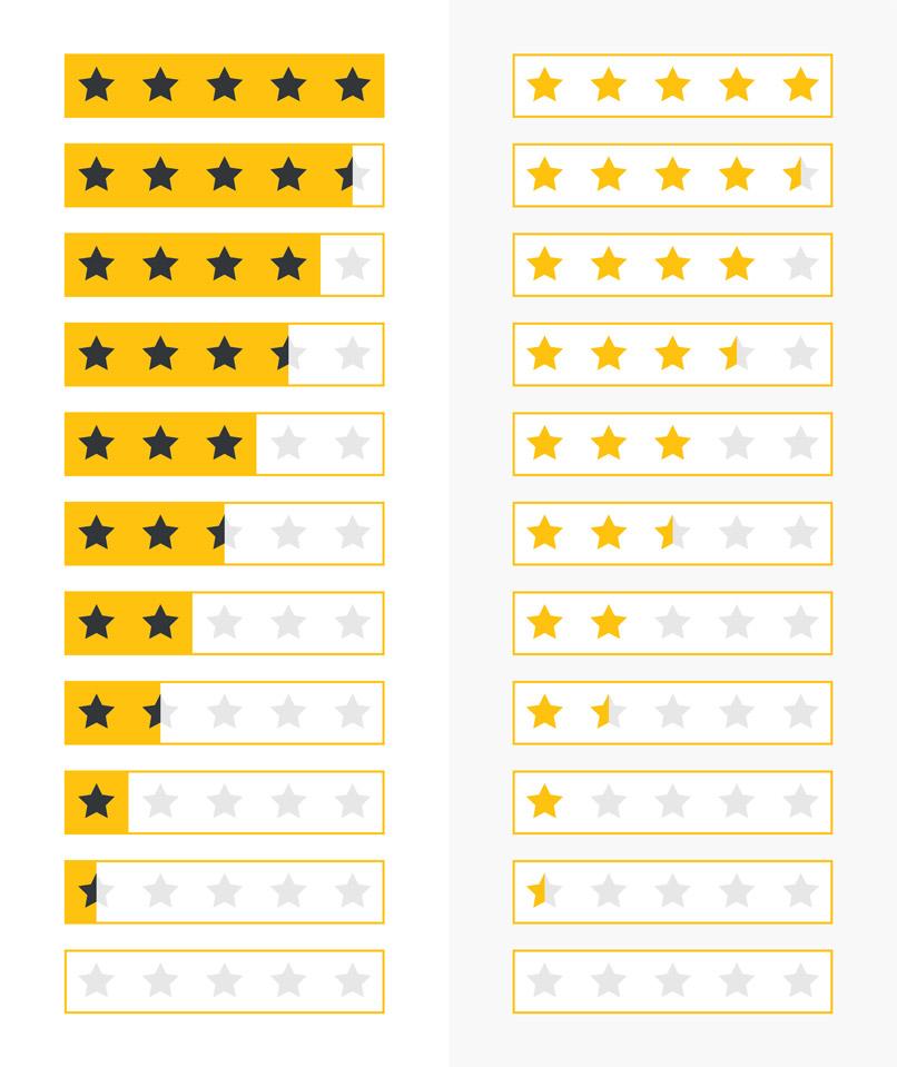 Sterne-Vorlagen zur Bewertung