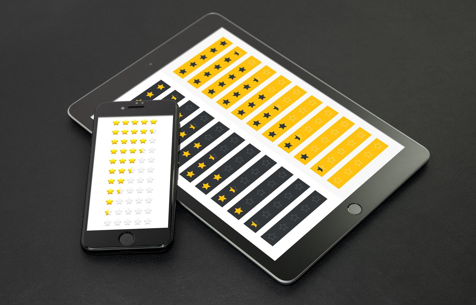 Sterne-Vorlagen, Beispieldarstellung auf Smartphone und Tablet