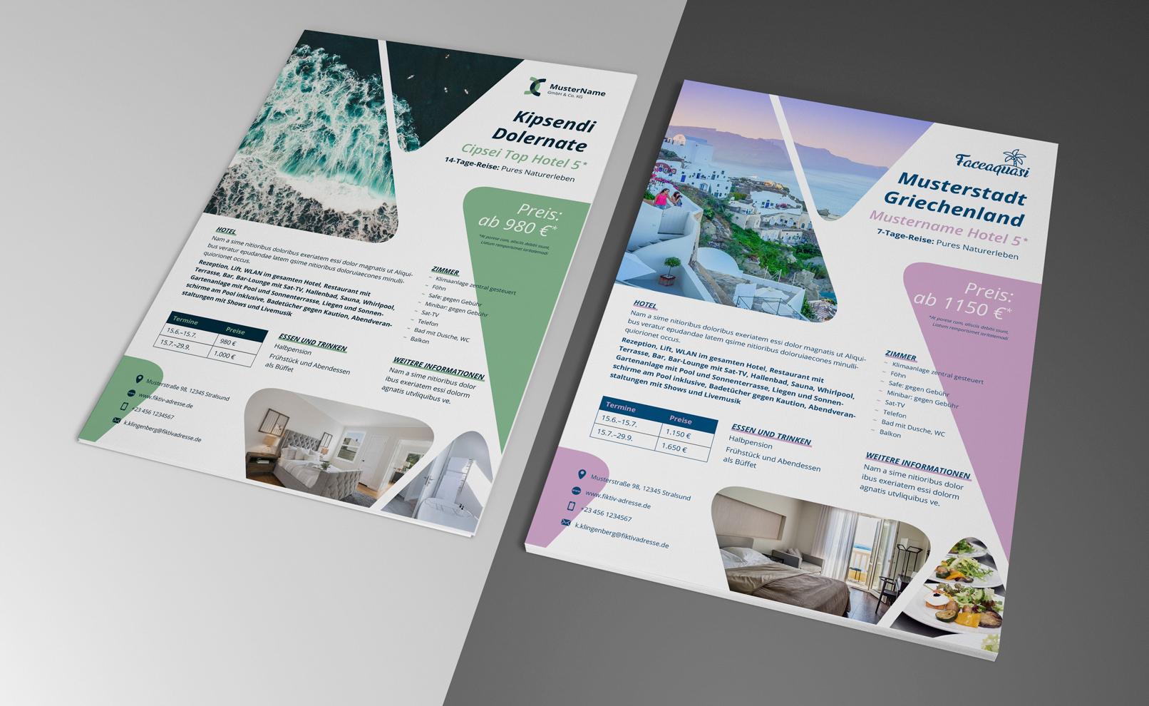 Flyer-Vorlagen im A4-Format zur Gestaltung eines Aushangs zur Schaufensterwerbung in Reisebüros