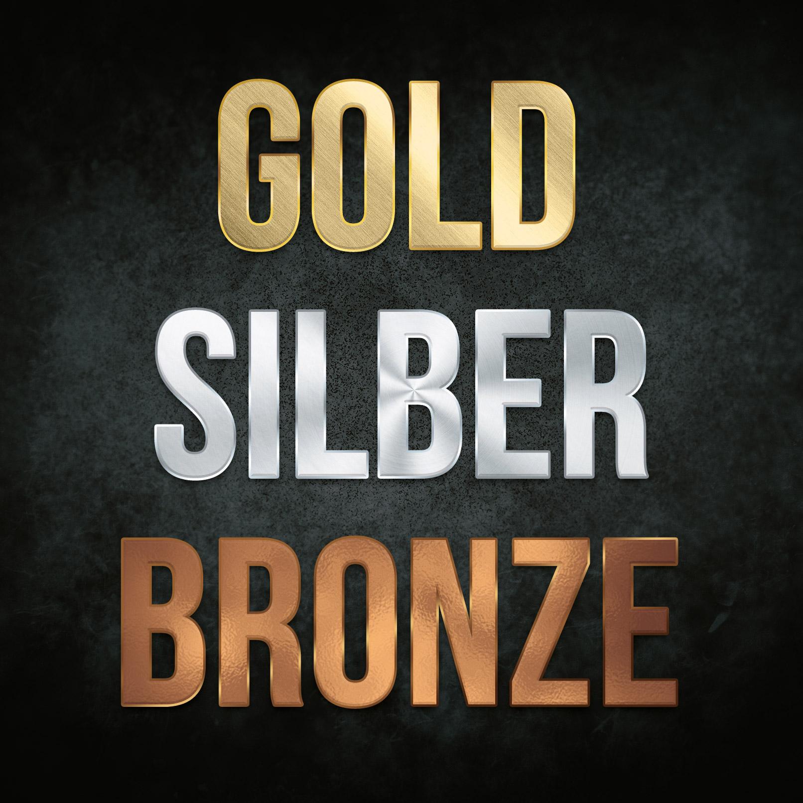 Metall-Texturen in Gold, Silber und Bronze, angewandt für Texteffekte