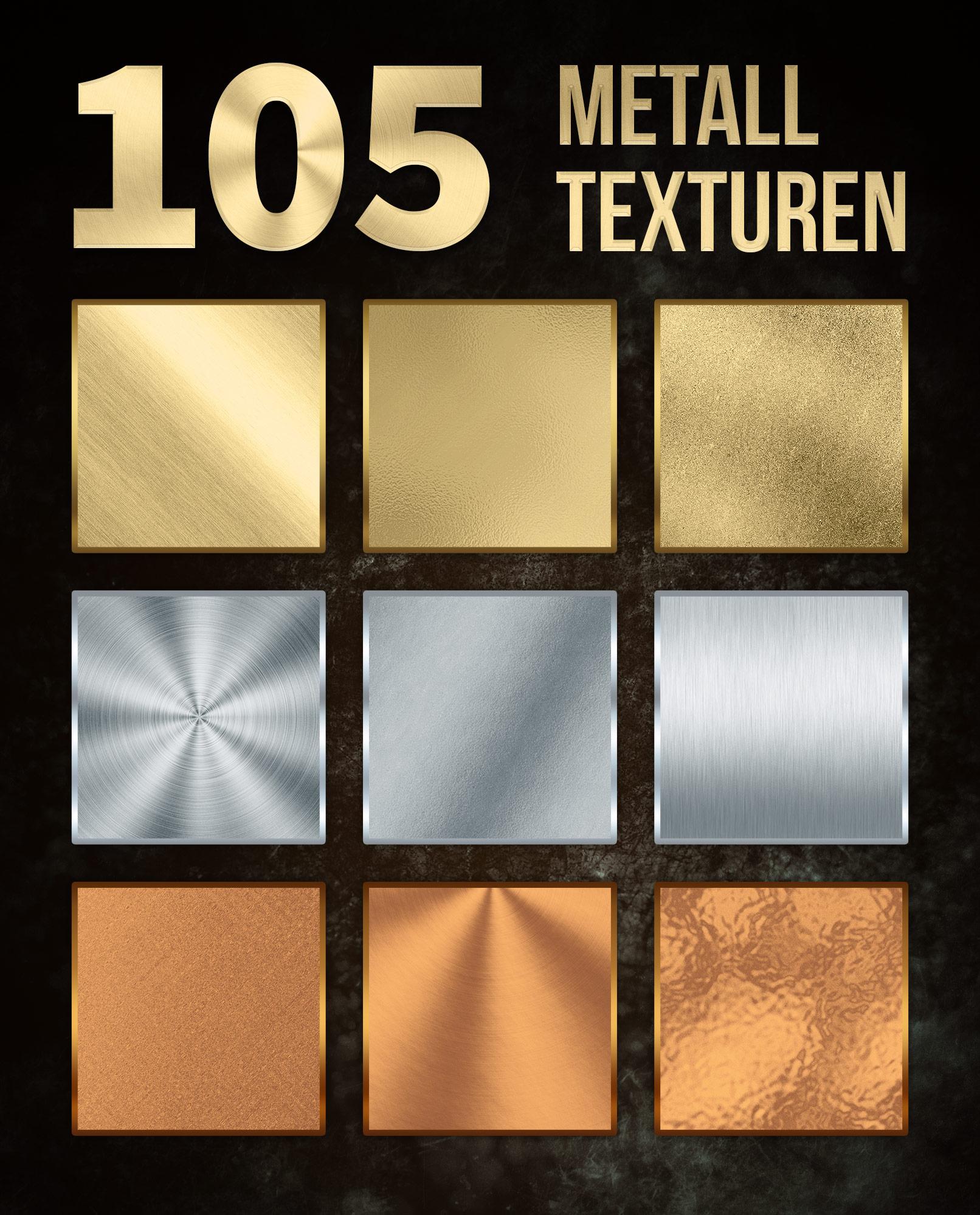 Metall-Texturen in Gold, Silber und Bronze