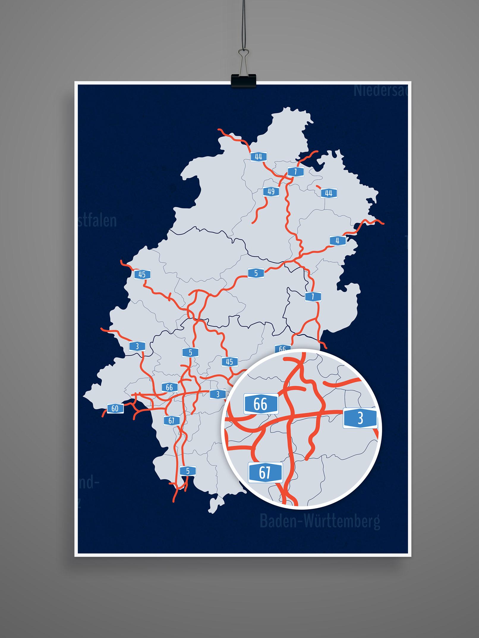 Landkarte von Hessen mit allen Landkreisen, kreisfreien Städten, inklusive Autobahnen
