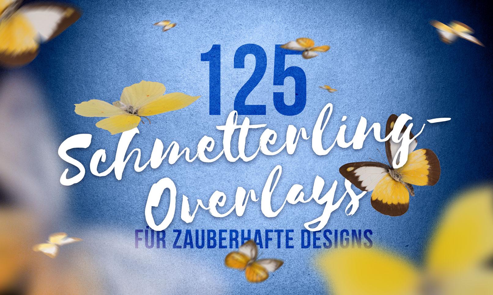 Schriftzug mit Bildern von Schmetterlingen, eingearbeitet als Overlays