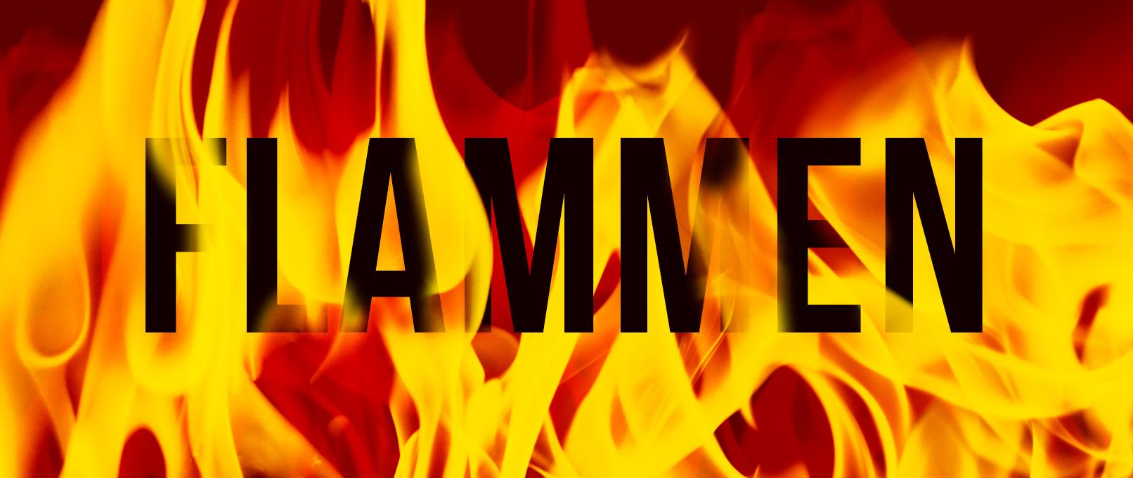 Schriftzug, überlagert von Feuer und Flammen, eingefügt mit Pinseln