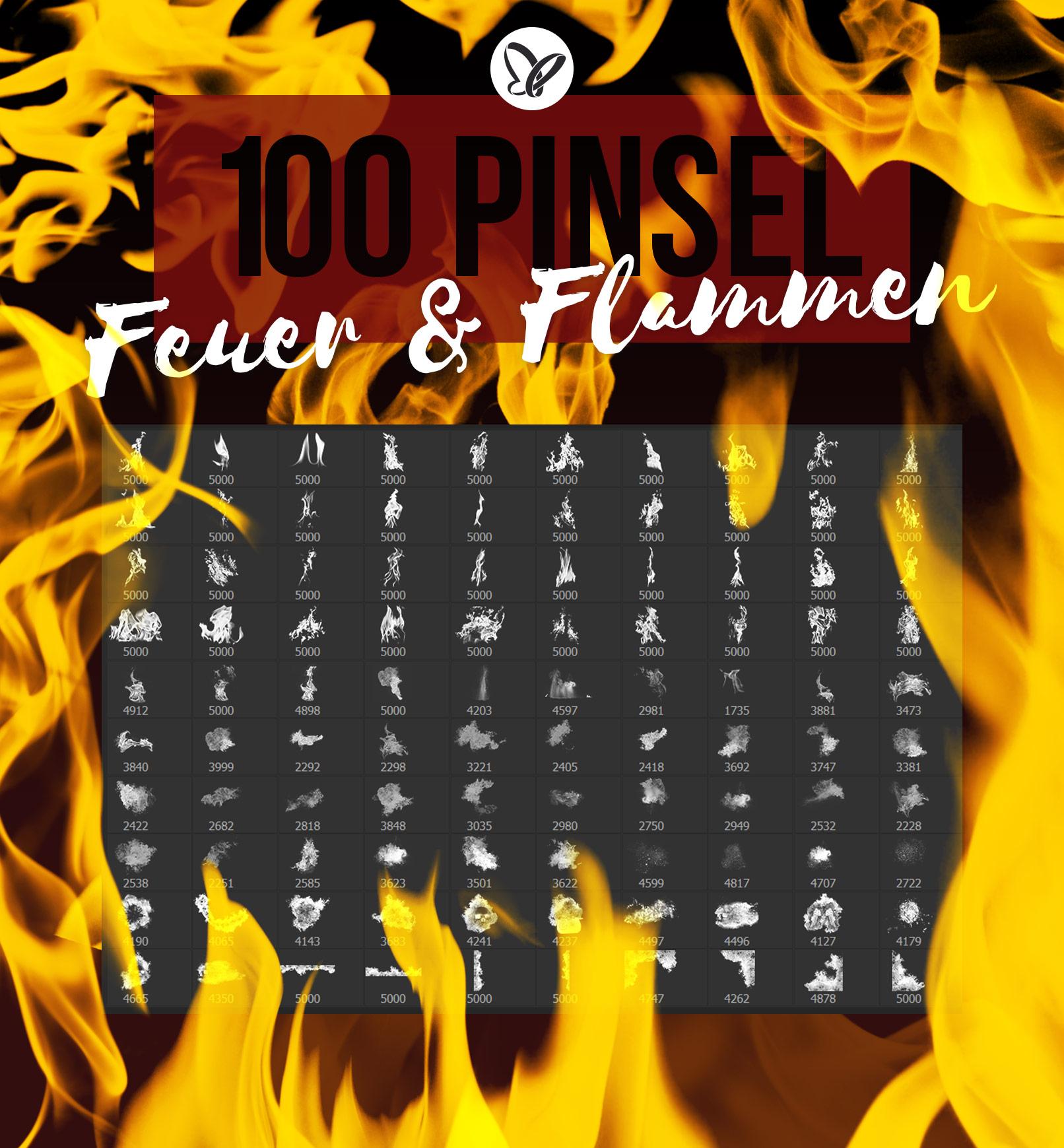 100 Photoshop-Pinsel mit Feuer und Flammen