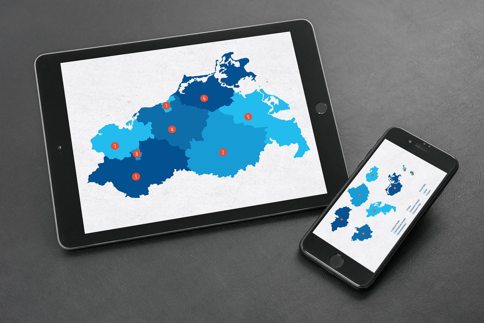 Landkarte von Mecklenburg-Vorpommern mit allen Landkreisen und kreisfreien Städten