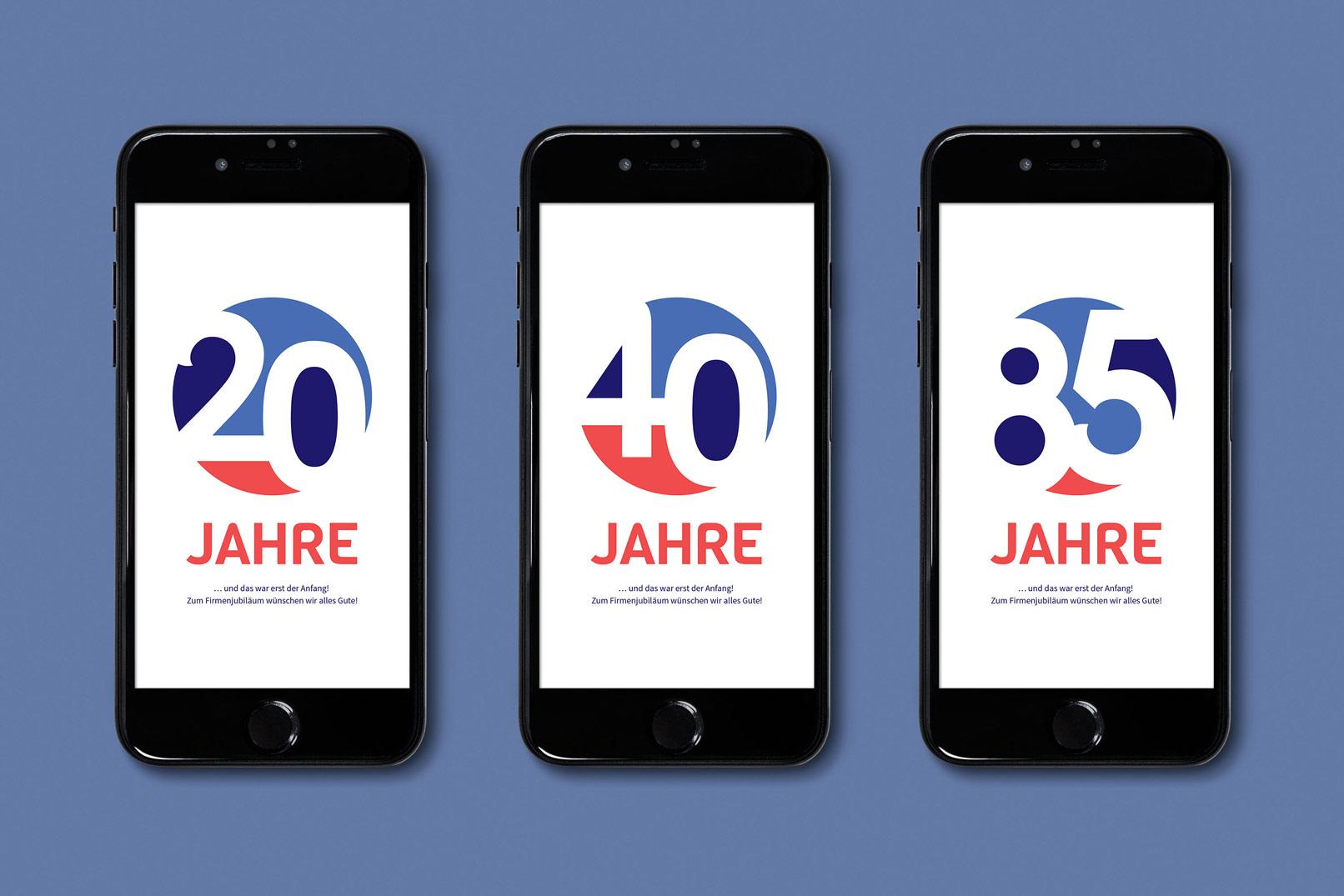 Schöne und bunte Zahlen-Designs, verwendet in einer App auf einem Smartphone.