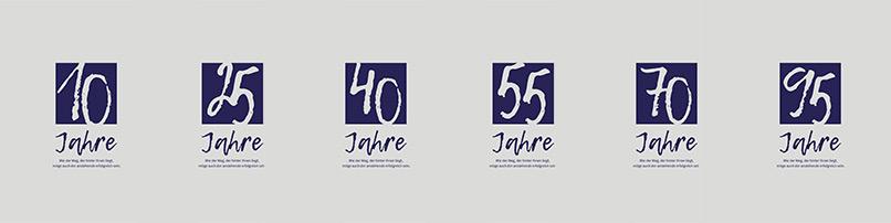 Zahlen-Design – schöne und bunte Zahlen von 10 bis 95