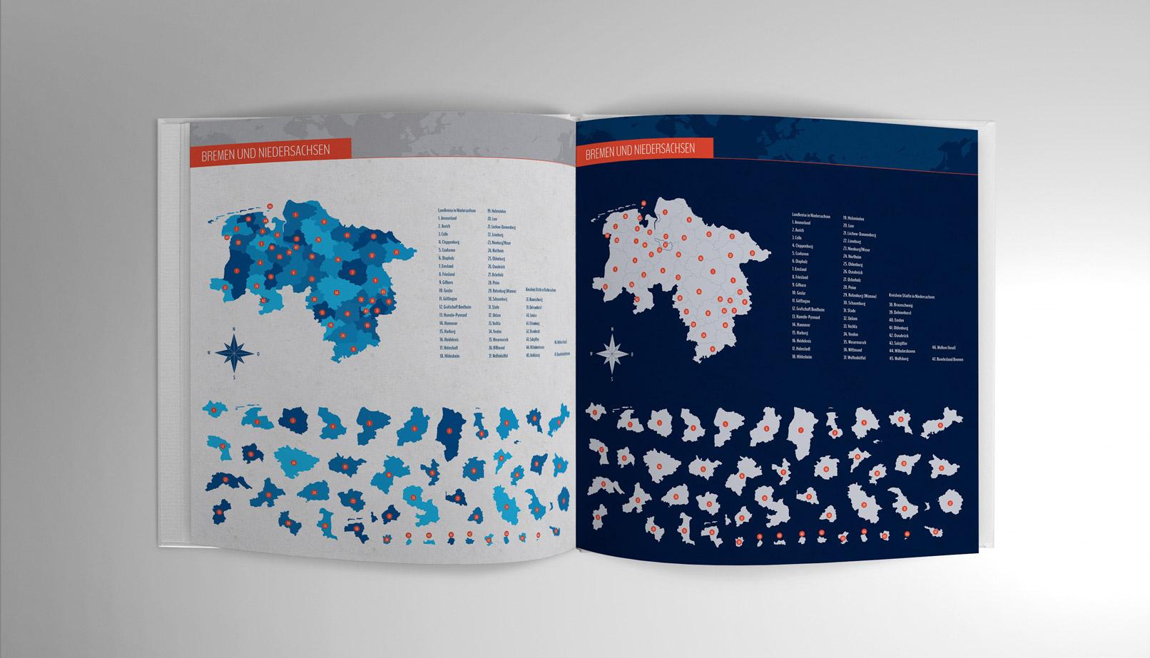 Landkarte von Niedersachsen und Bremen in einer Broschüre
