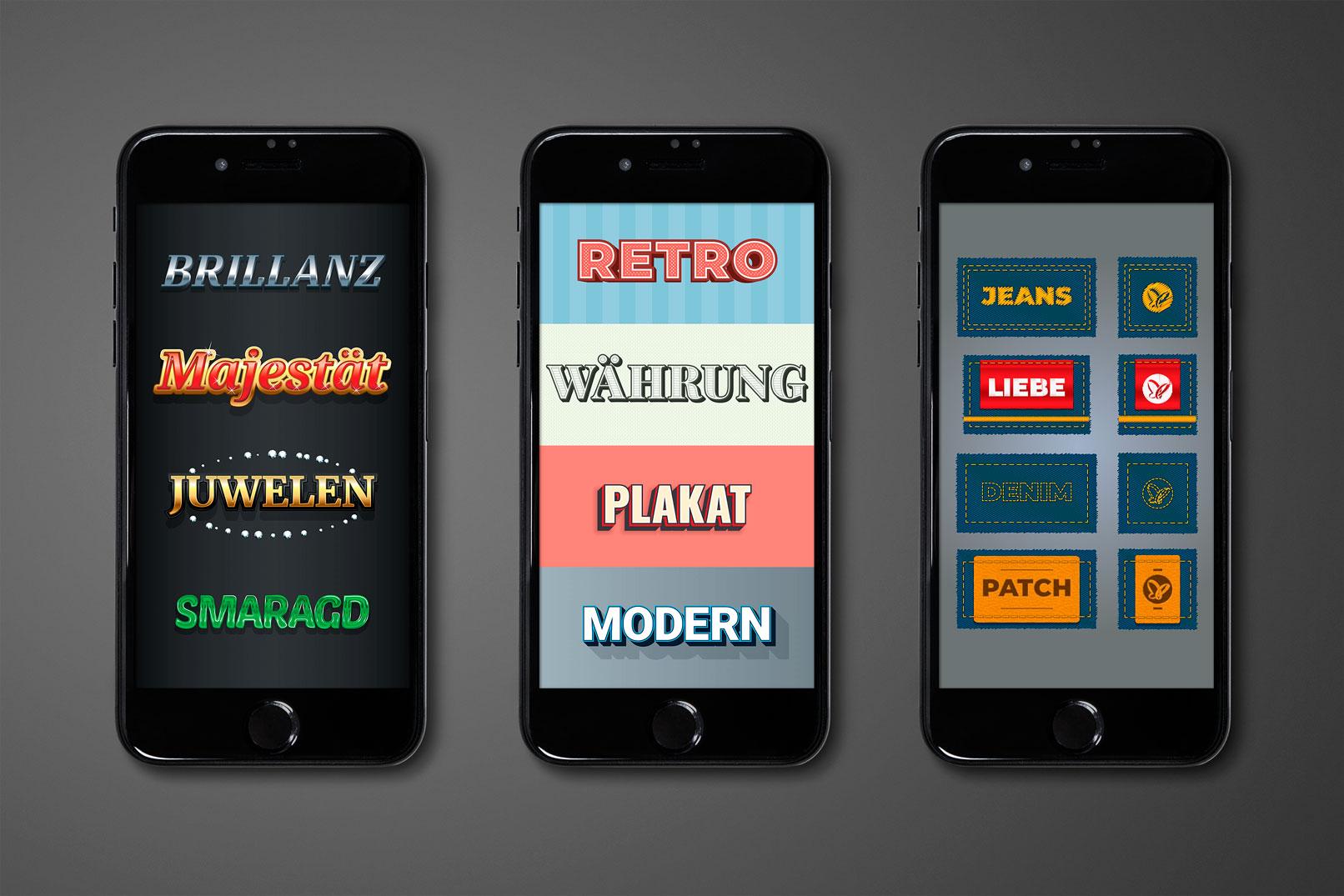 Smartphones zeigen unterschiedliche Looks, die mit den Grafikstilen erzeugt werden können