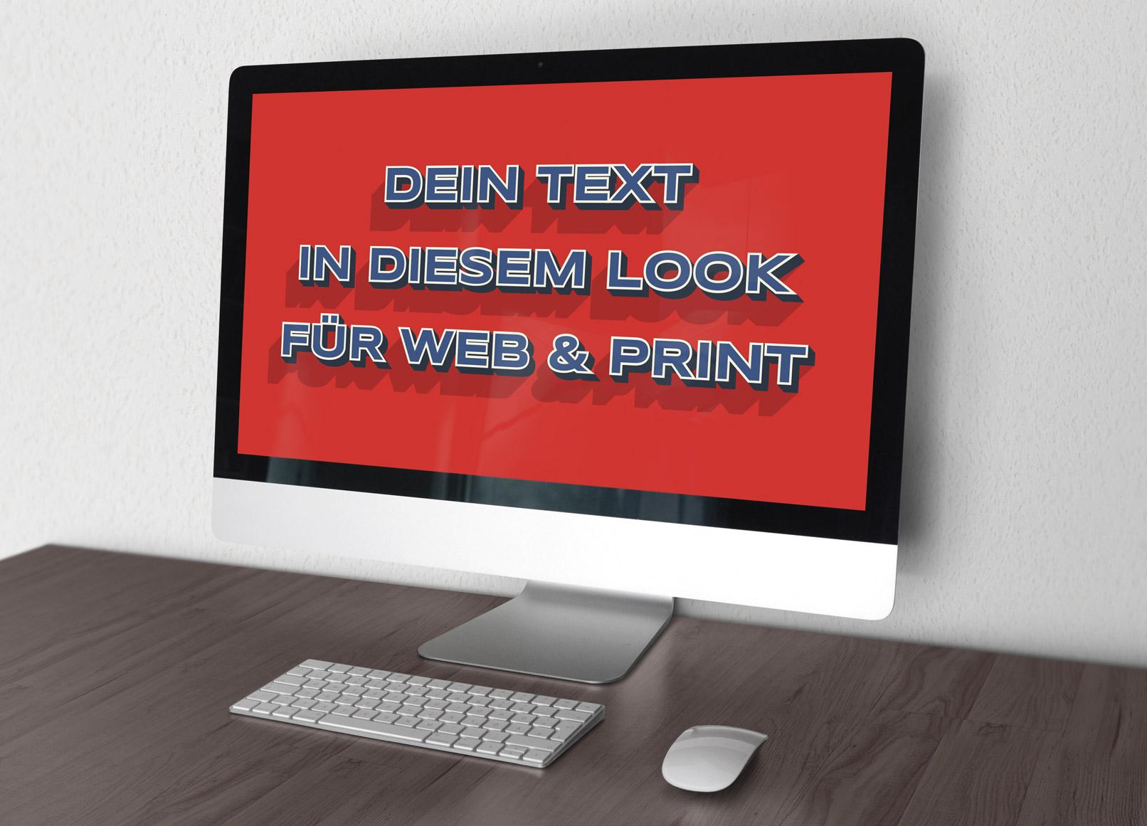 Monitor mit Text im Vintage-Stil, aufbereitet mit einem Grafikstil