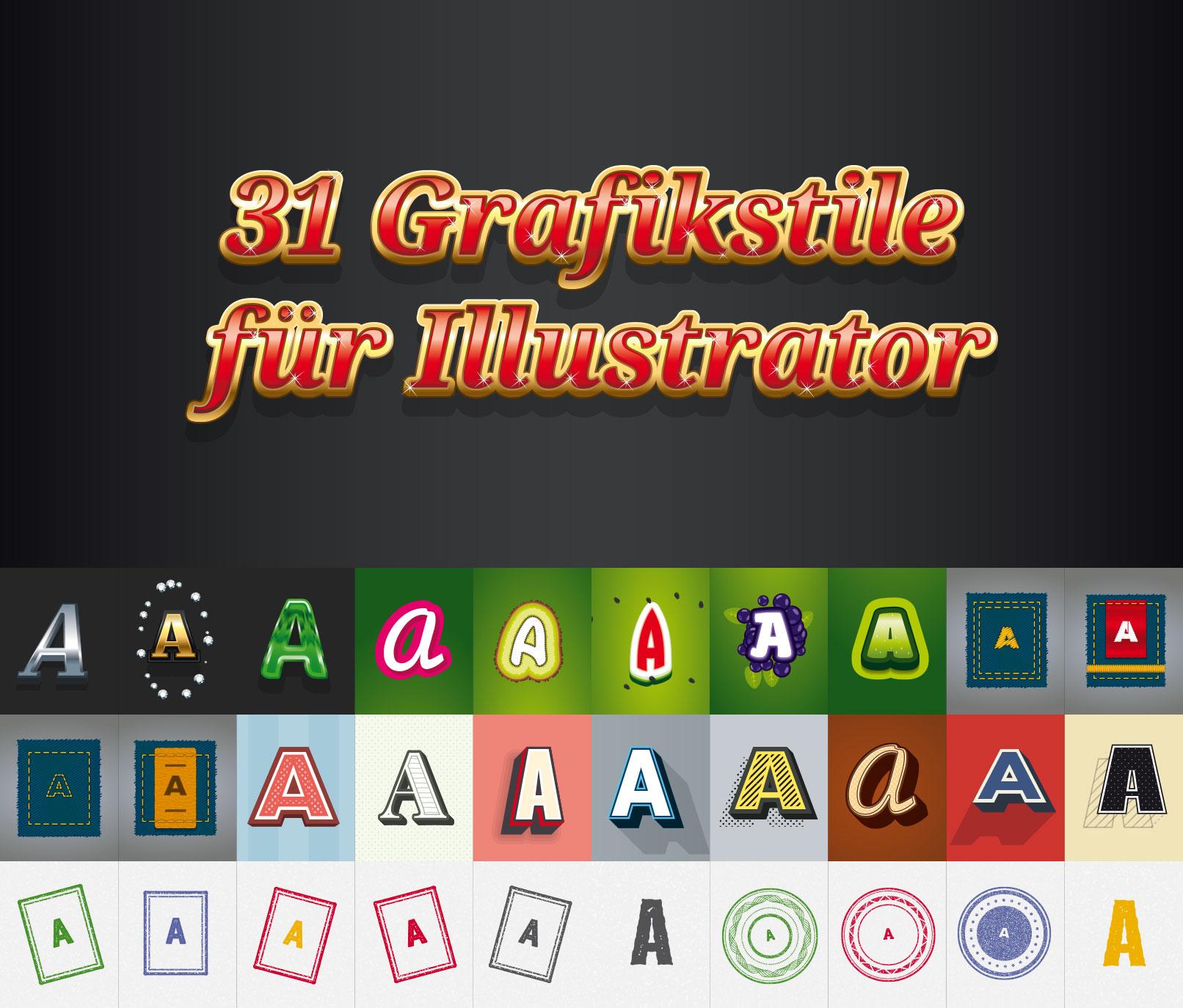 Beispiele für die 31 Grafikstile für Illustrator zum Download