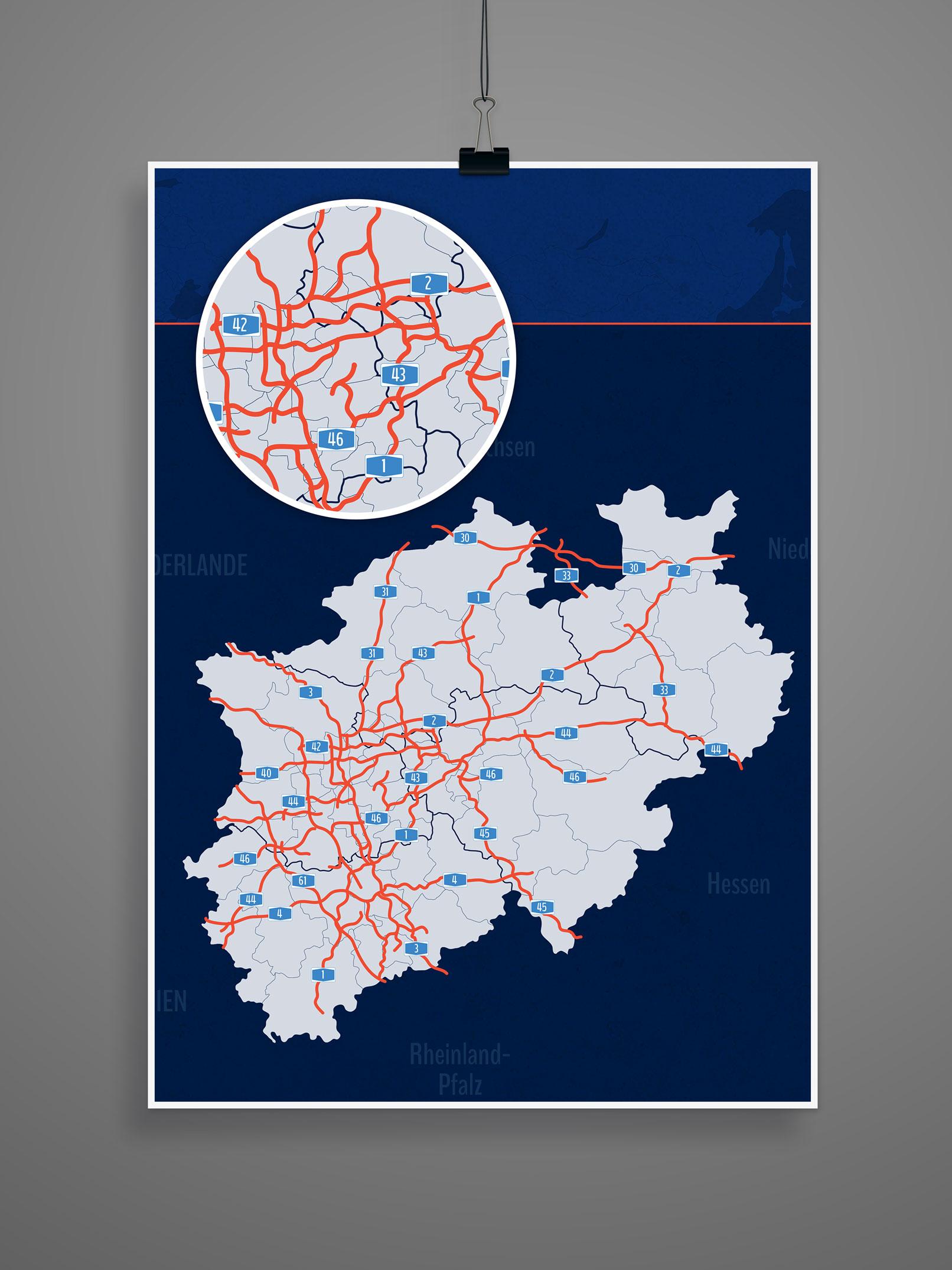 Landkarte von Nordrhein-Westfalen mit allen Landkreisen, kreisfreien Städten, inklusive Autobahnen