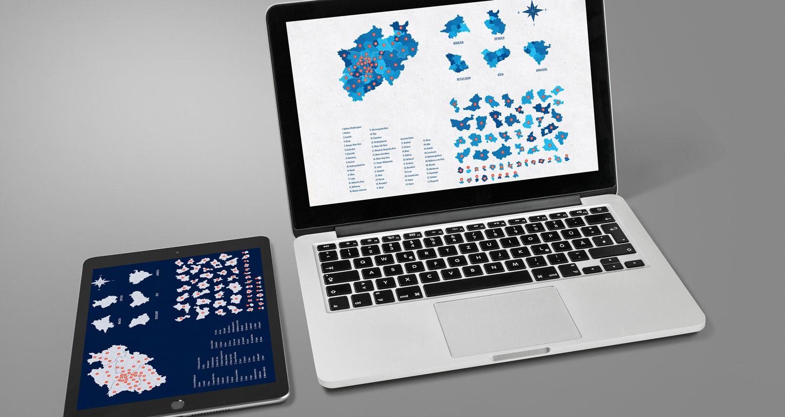Tablet und Laptop mit der Landkarte von NRW