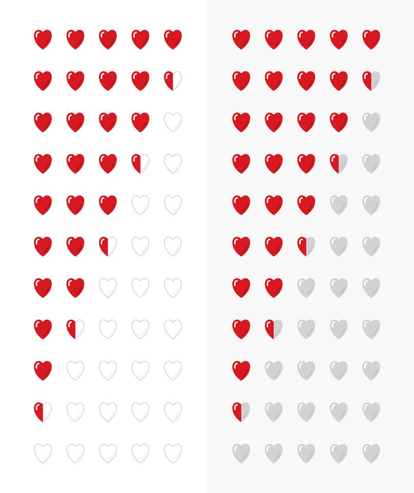 Grafik-Vorlagen für Bewertungssysteme: Herzen