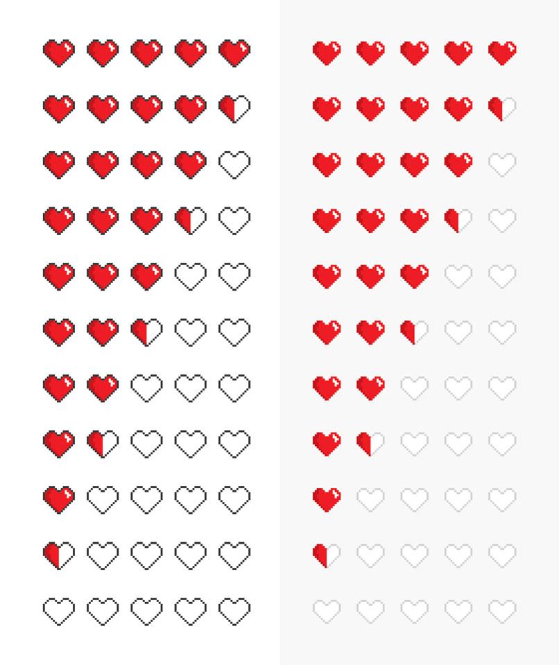 Grafik-Vorlagen für Bewertungssysteme: Herzen in Pixel-Optik