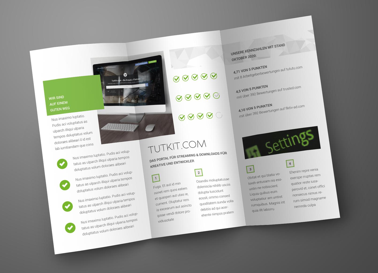 Grafik-Vorlagen für Bewertungssysteme, eingesetzt in einem Flyer