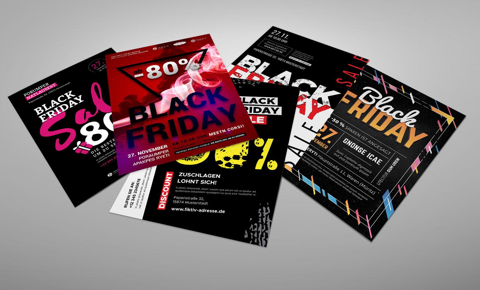 Fünf Vorlagen im Black Friday-Design: Plakate und Flyer zur Werbung
