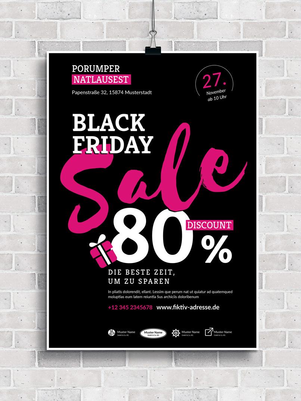 Vorlage im Black Friday-Design zur Gestaltung von Plakat und Flyer zur Werbung