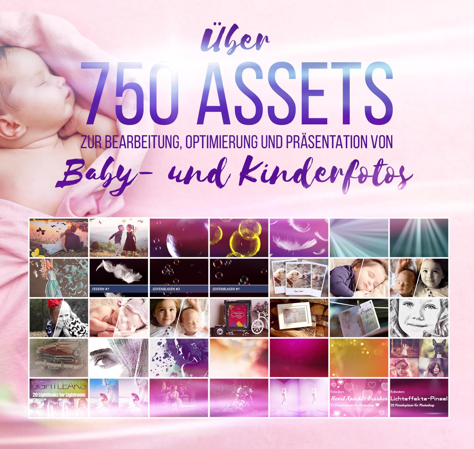 Beispiele des Pakets Baby- und Kinderfotografie: Presets, Texturen, Pinsel, Aktionen – 750 Assets für Kinderfotos