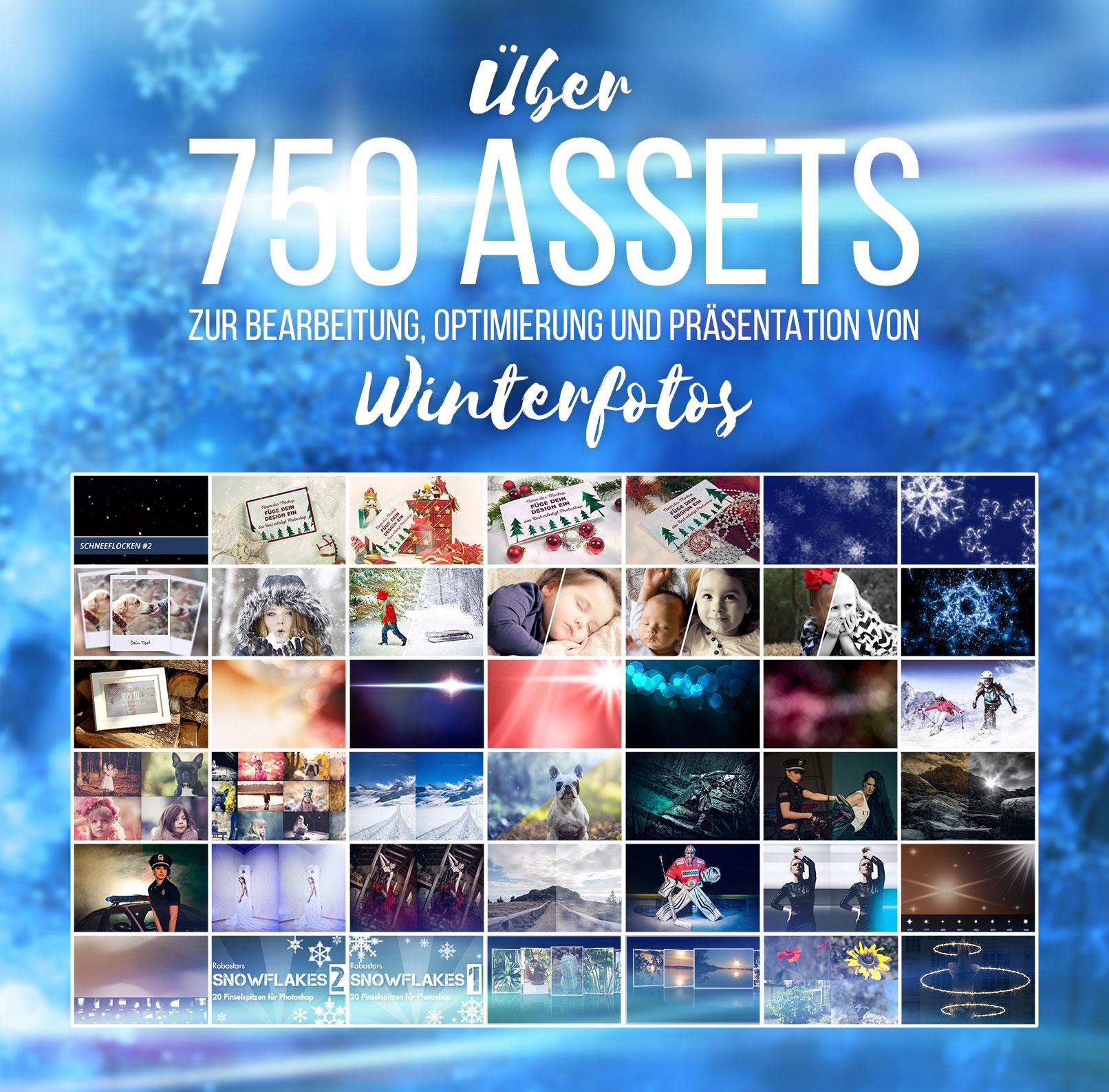 Beispiele aus dem Paket Winterfotografie: Presets, Overlays, Texturen, Aktionen – 750 Assets für coole Winter-Fotos