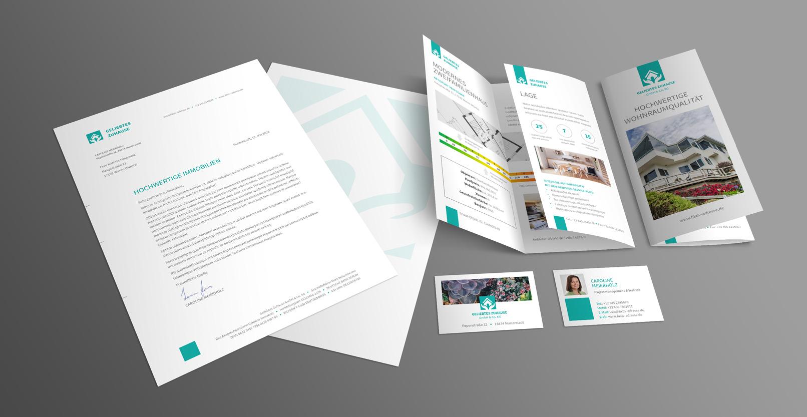 Corporate Design-Vorlagen für Immobilienfirmen und Architekturbüros: Briefpapier, Flyer, Visitenkarte
