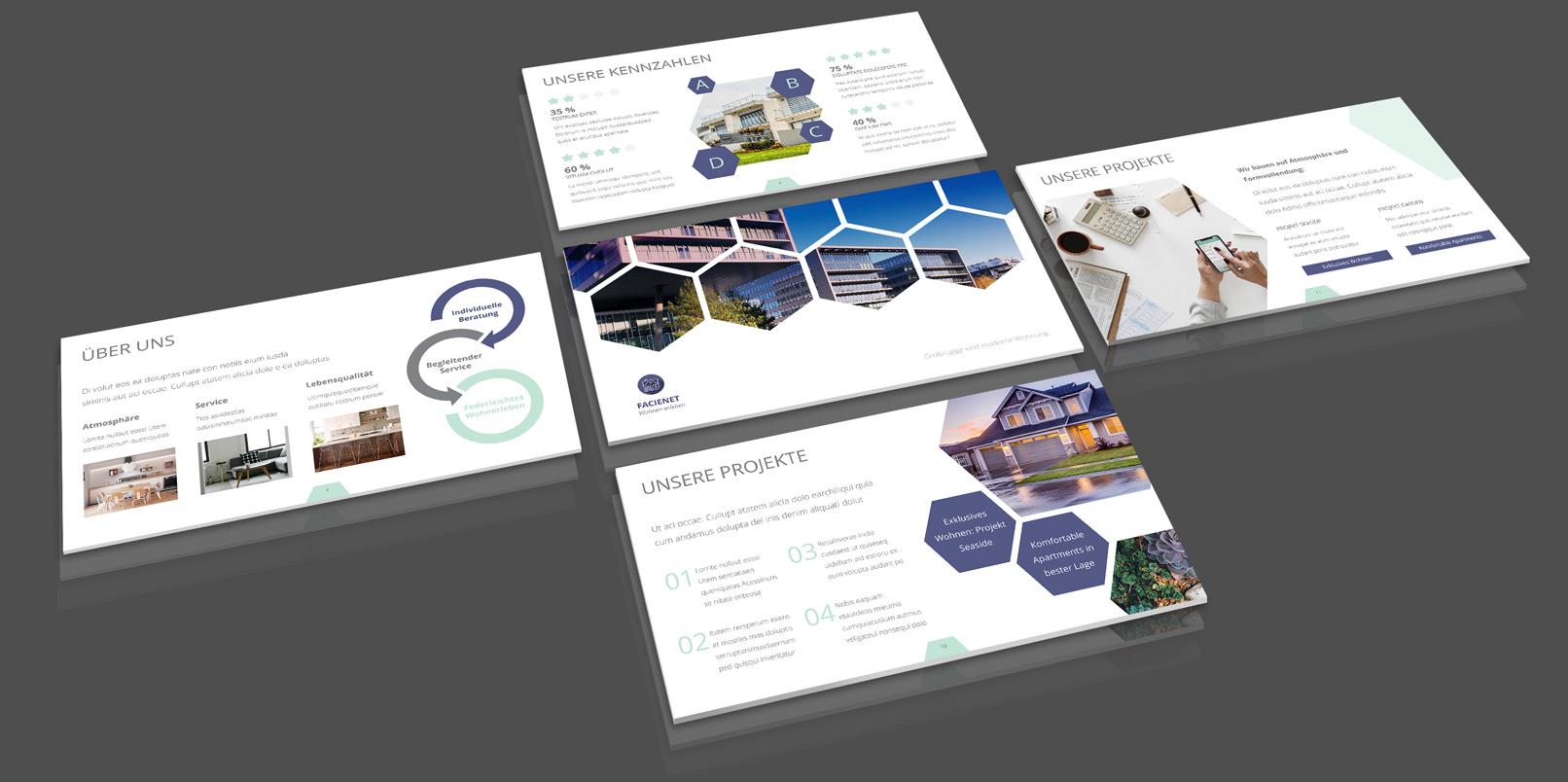 Corporate Design-Vorlagen für Immobilienfirmen und Architekturbüros: PowerPoint