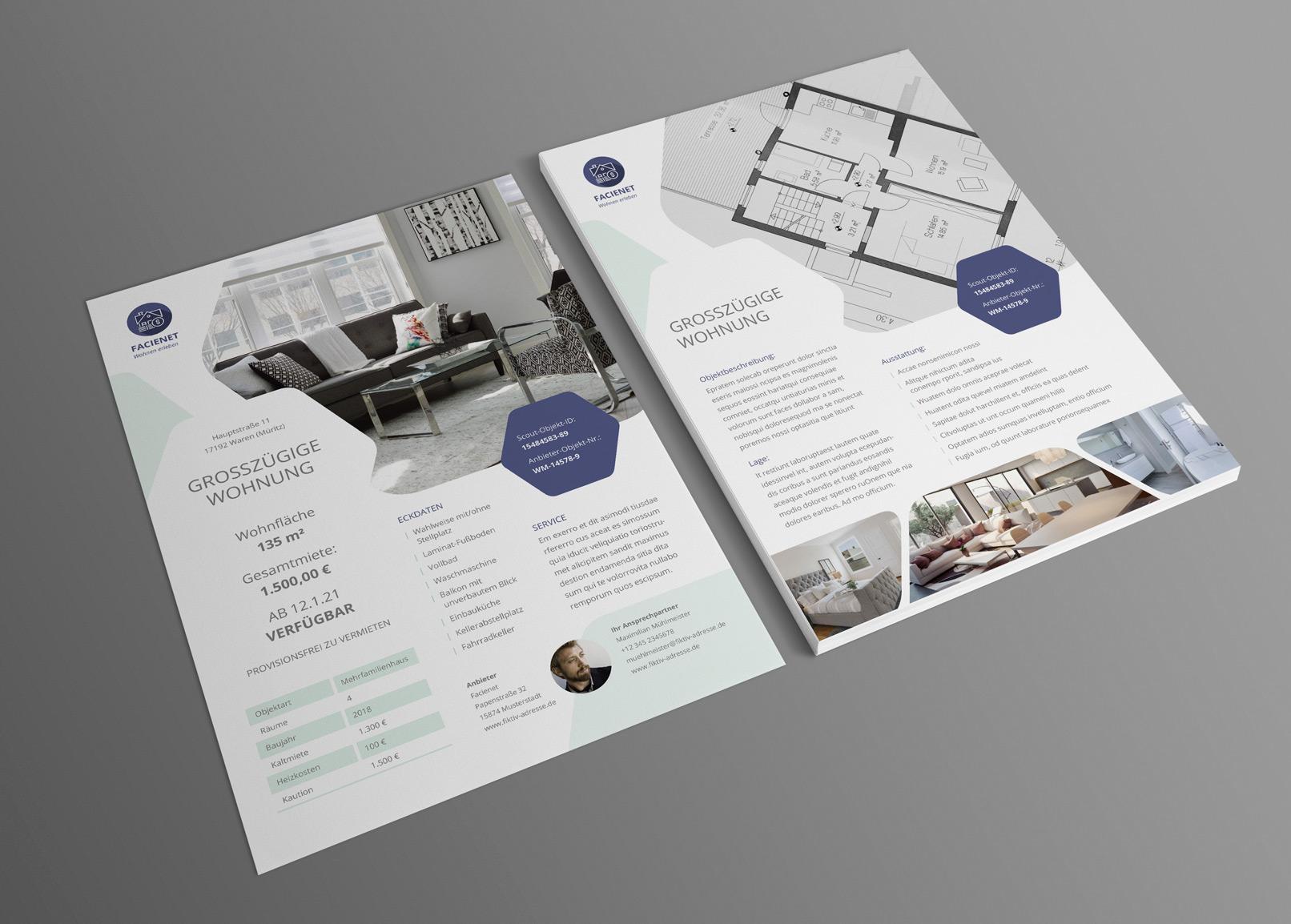 Corporate Design-Vorlagen für Immobilienfirmen und Architekturbüros: Exposé