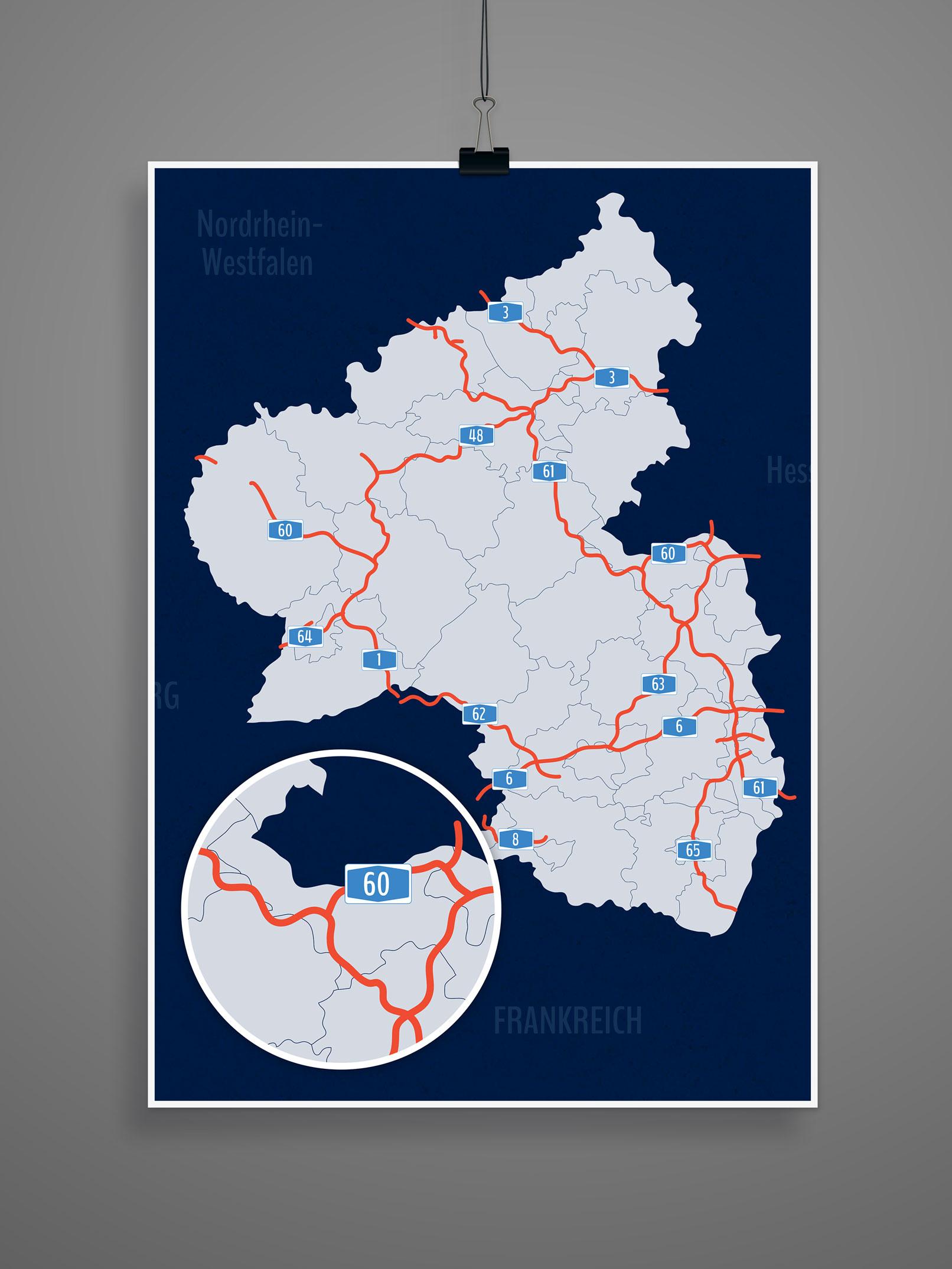 Landkarte von Rheinland-Pfalz mit allen Landkreisen, kreisfreien Städten, inklusive Autobahnen