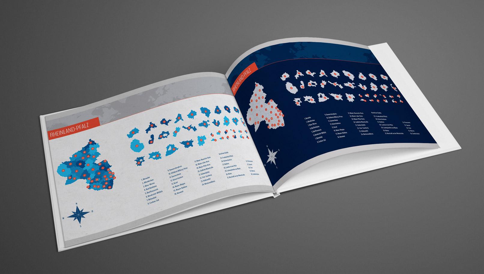 Broschüre mit der Landkarte von Nordrhein-Westfalen