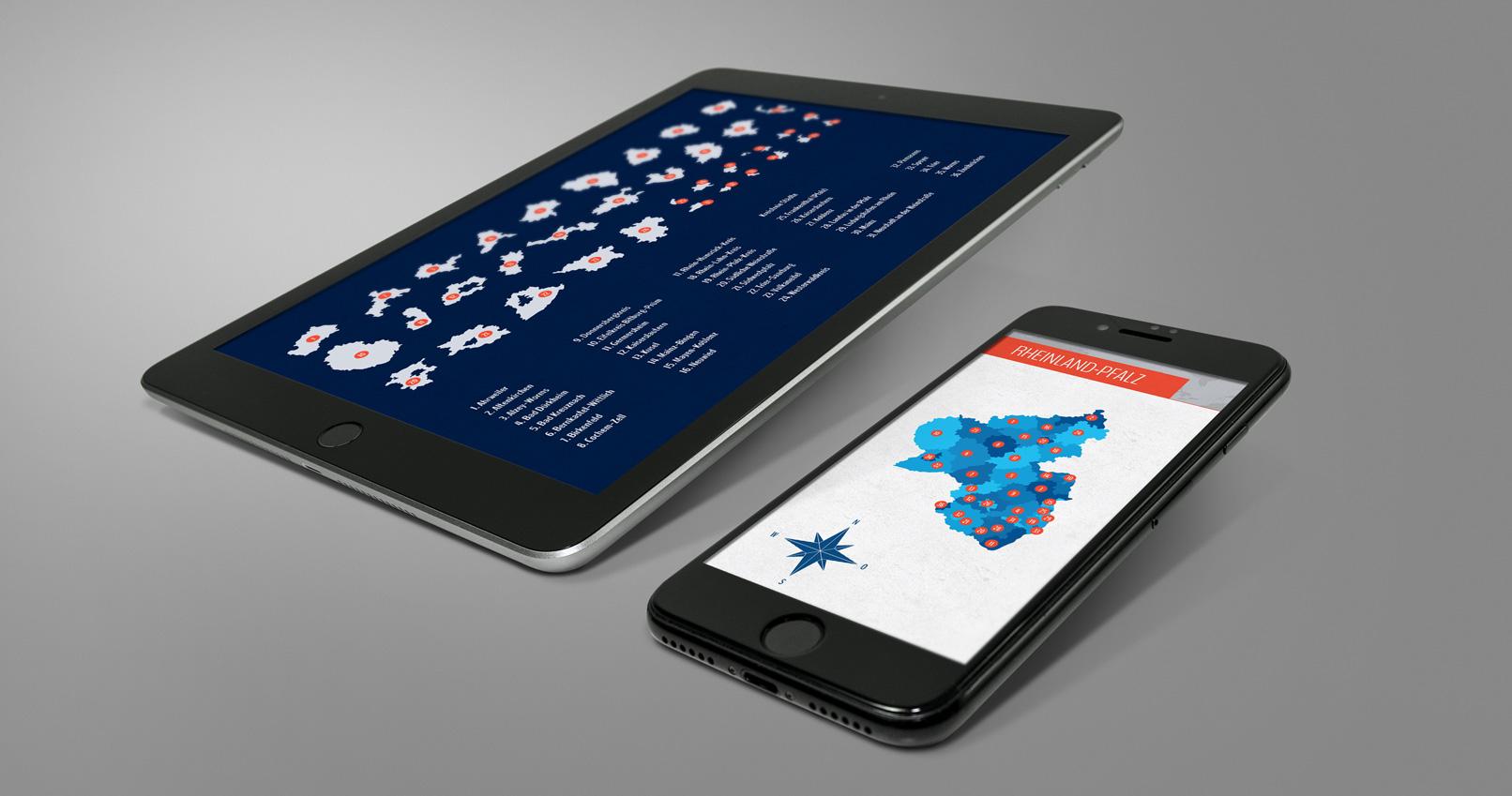 Tablet und Smartphone mit der Landkarte von Rheinland-Pfalz