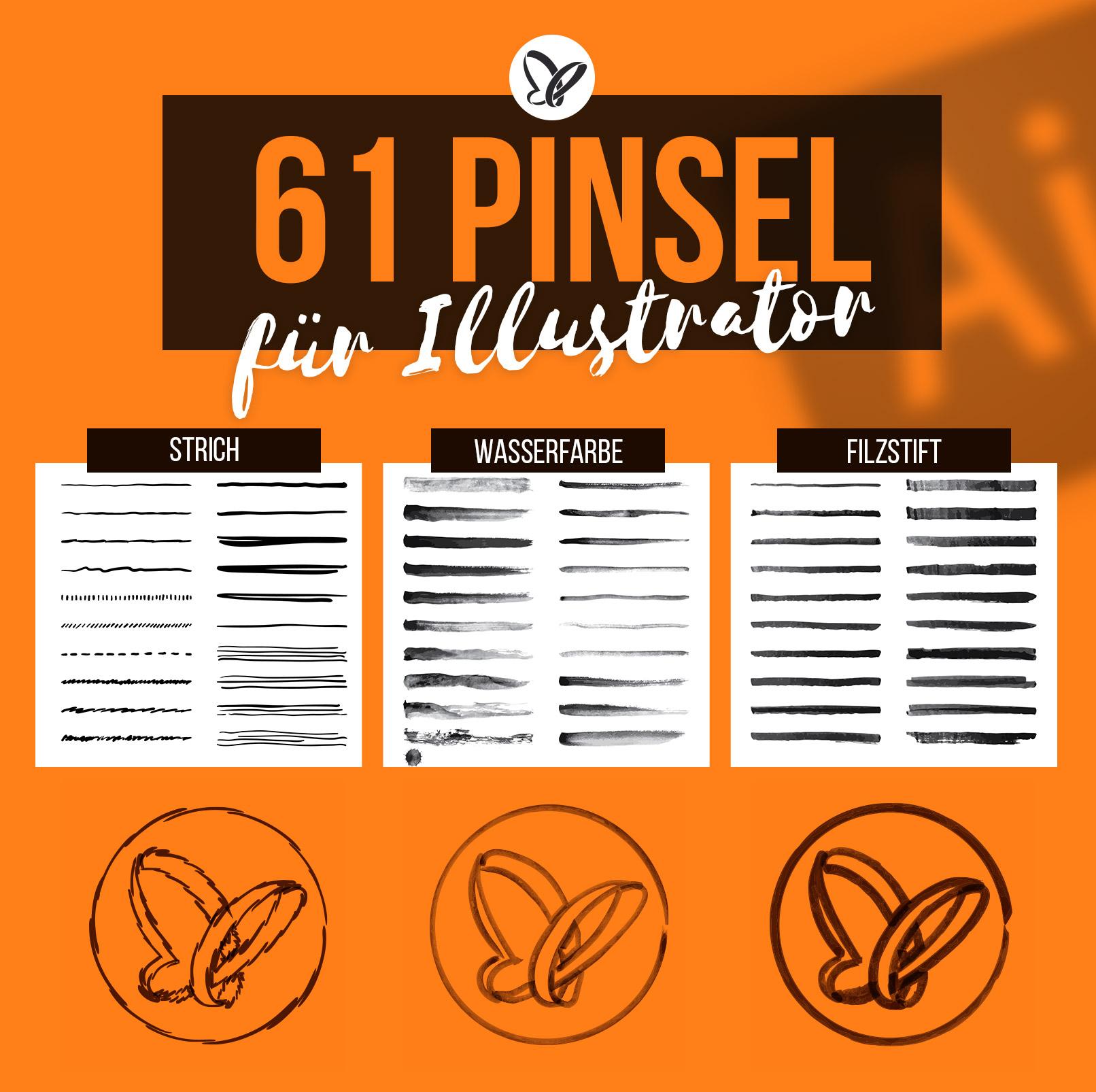 Beispiele für die 61 Illustrator-Pinsel