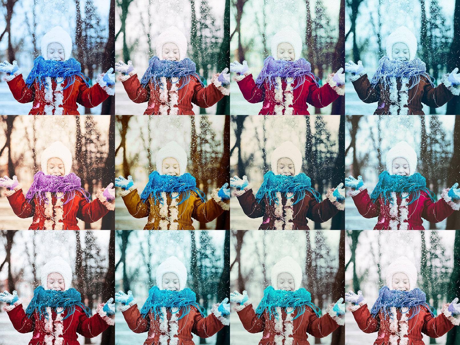 Beispielfotos, in denen Lightroom- und Camera Raw-Presets für Winter eingesetzt wurden.