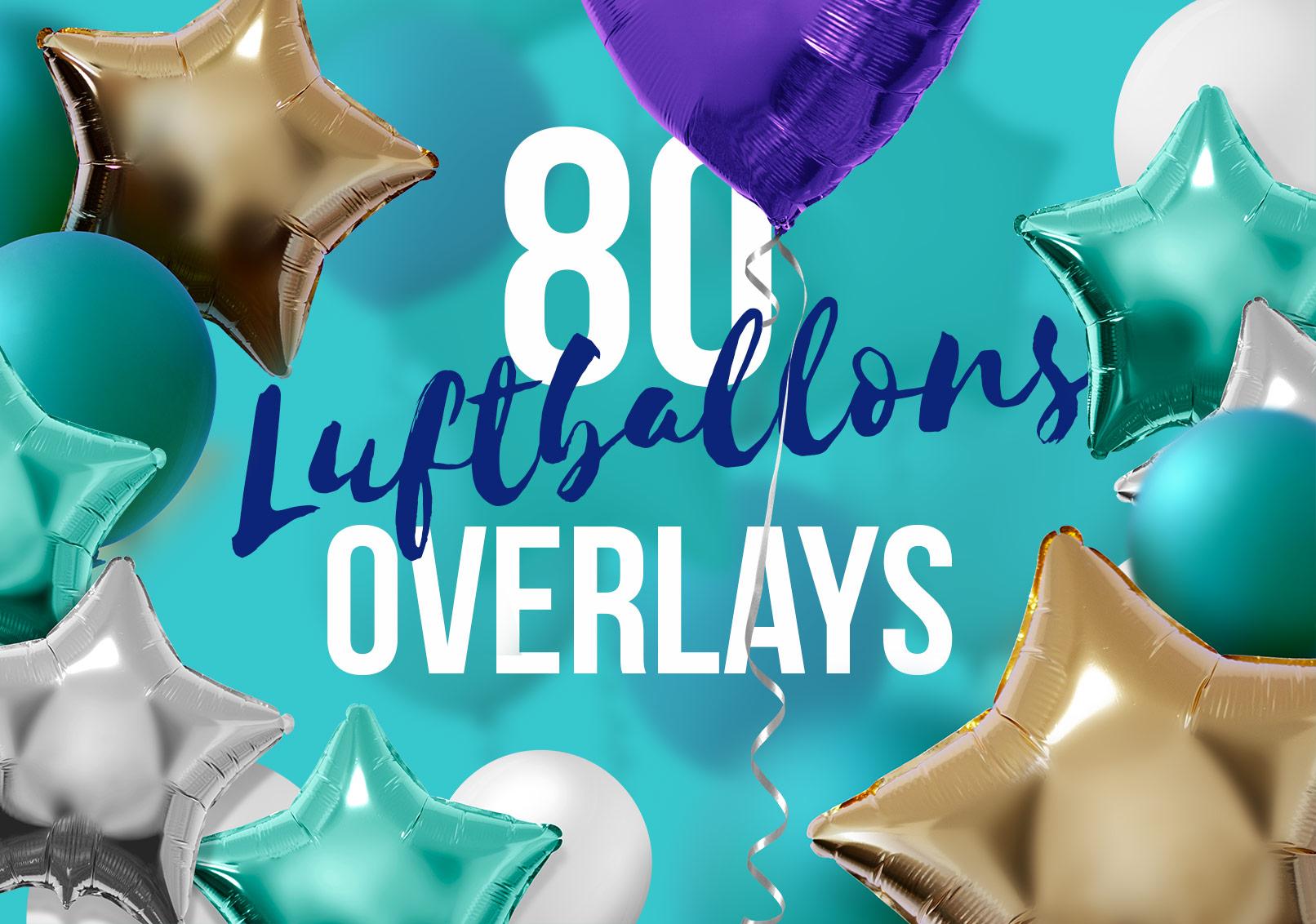 Schriftzug mit Bildern von bunten Luftballons