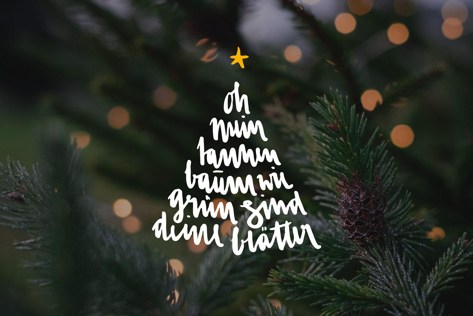 Frohe Weihnachten, Handlettering-Vorlage über einem Bild
