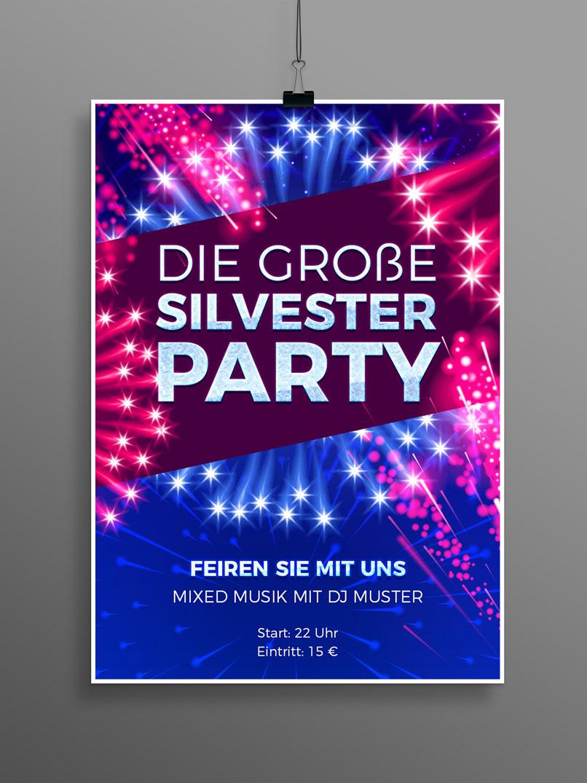 Plakat für eine Silvesterfeier mit eingearbeiteten Feuerwerks-Illustrationen