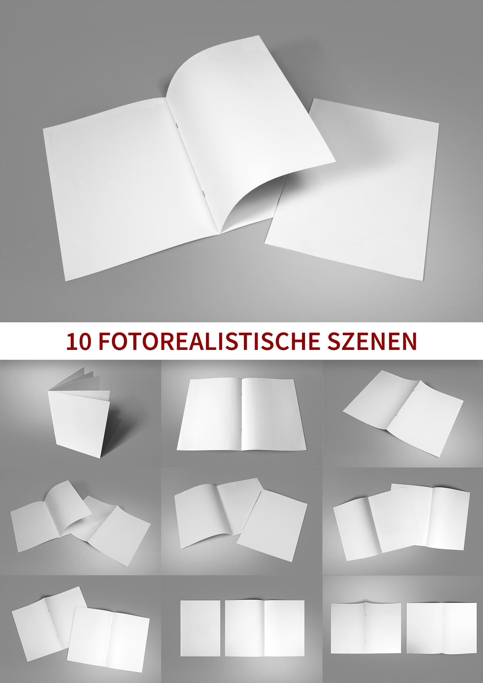 Mockups für Broschüren im A4-Format