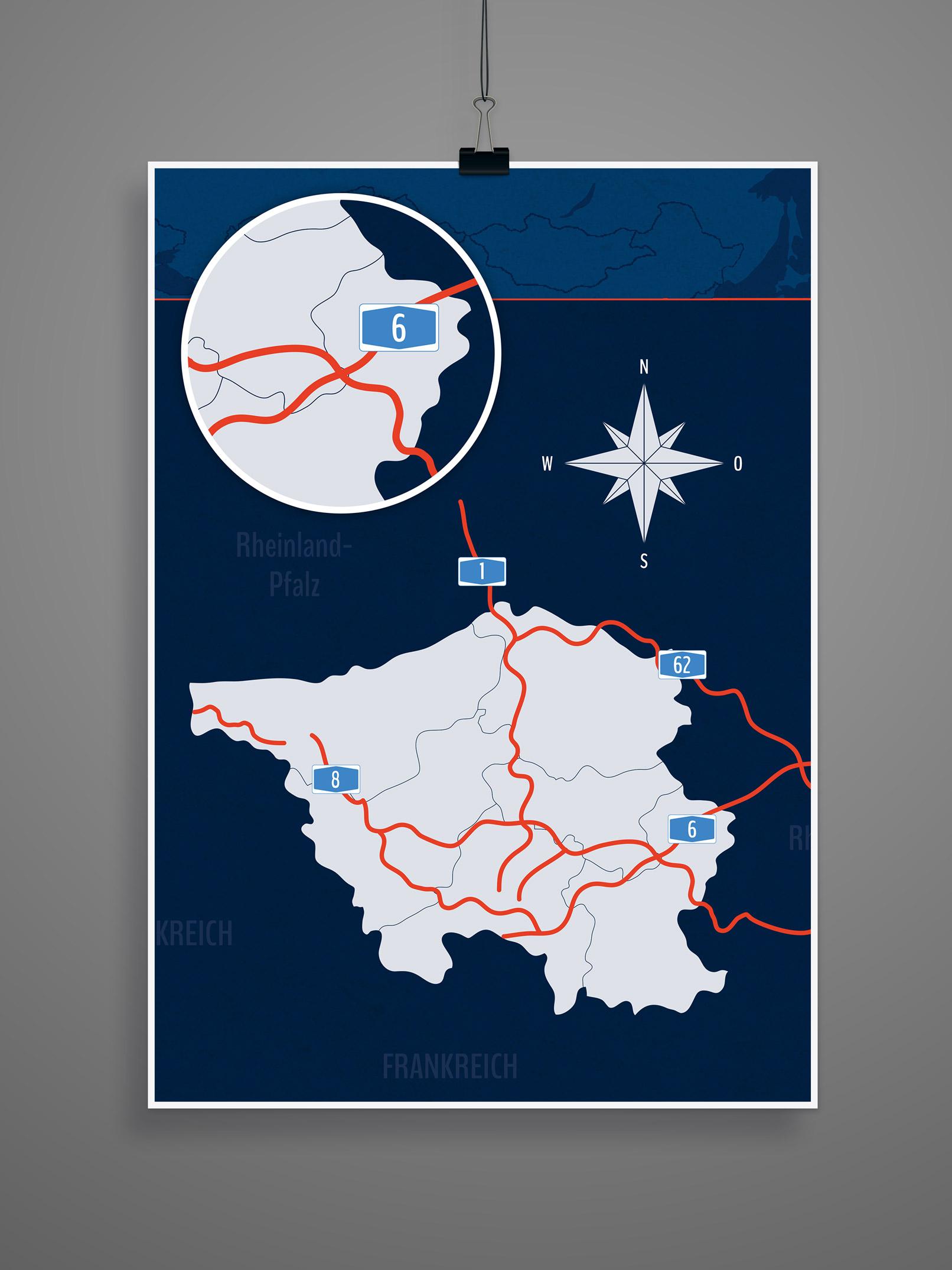 Landkarte Saarland mit allen Landkreisen, inklusive Autobahnen